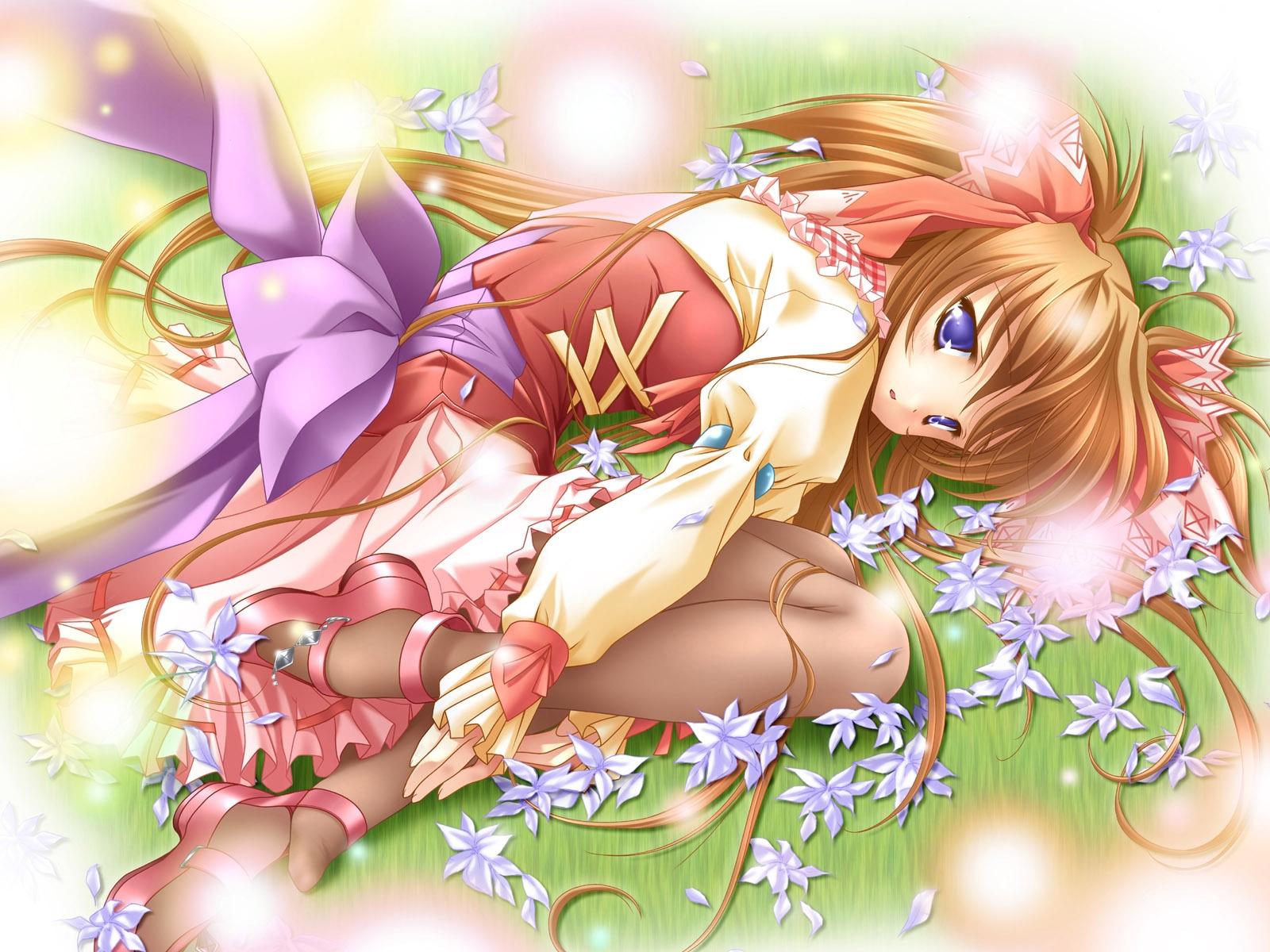 Illustration Flowers Anime Bow Cartoon Flower Cute Girl Posture Mangaka