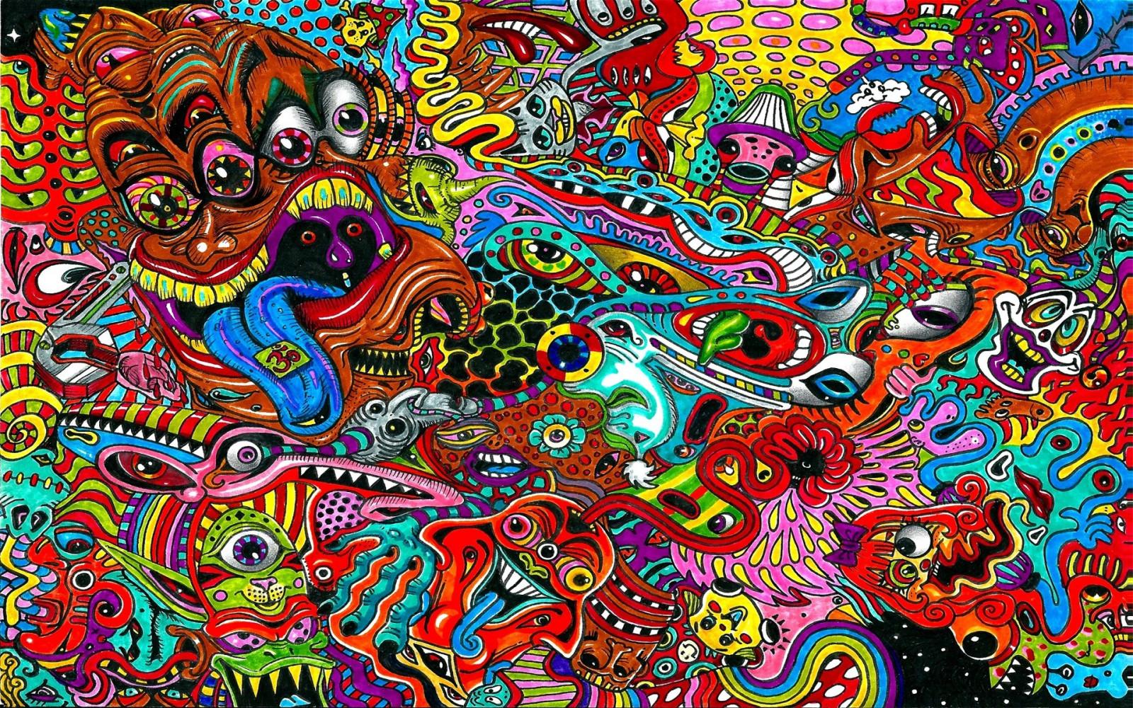 Fond d 39 cran dessin surr aliste color psych d lique - Dessin colore ...