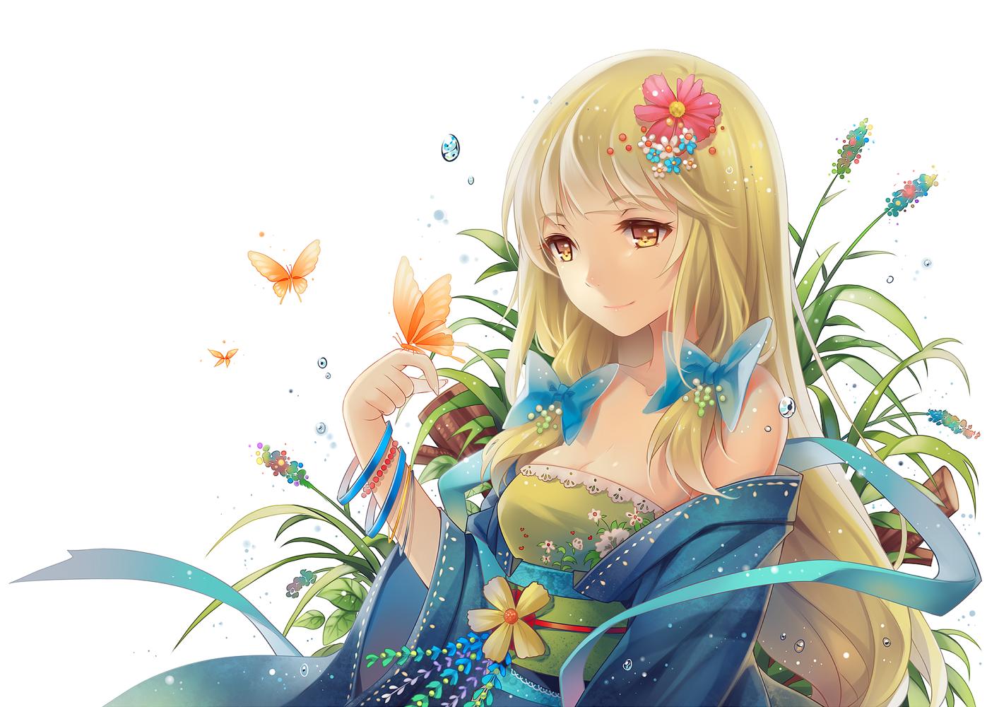 Blonde anime hair girl