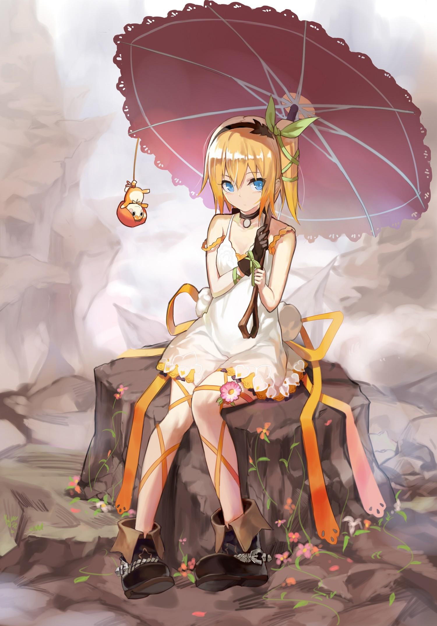 Wallpaper Illustration Blonde Anime Girls Blue Eyes Short