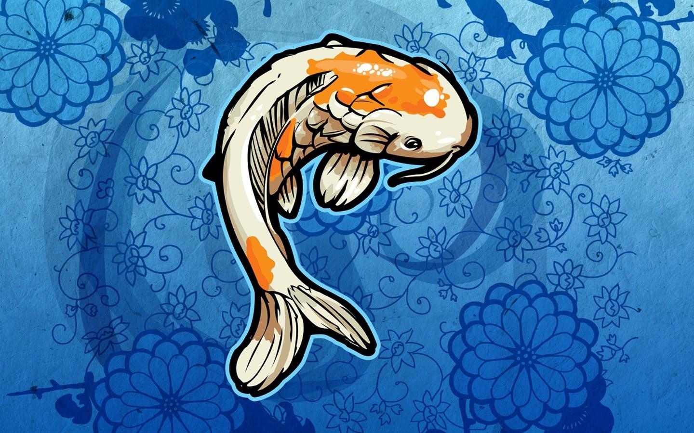 Wallpaper Ilustrasi Ikan Biru Gambar Kartun Koi