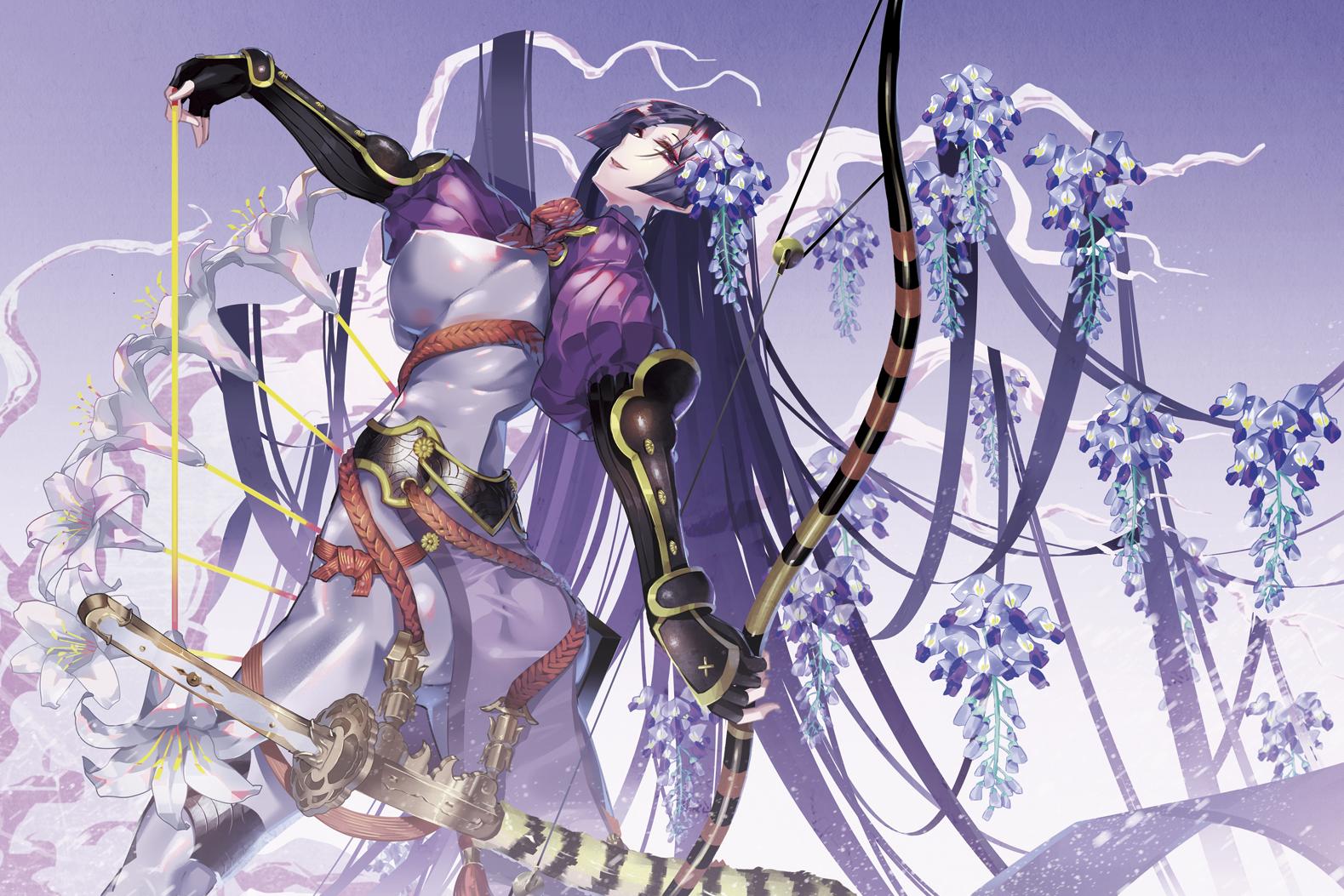 Gilr with purple hair with big boobs Wallpaper Anime Girls Fate Grand Order Minamoto No Yorimitsu Fate Purple Hair Sword Katana Long Hair Bow Ass Big Boobs 1579x1053 Actargon 1526397 Hd Wallpapers Wallhere