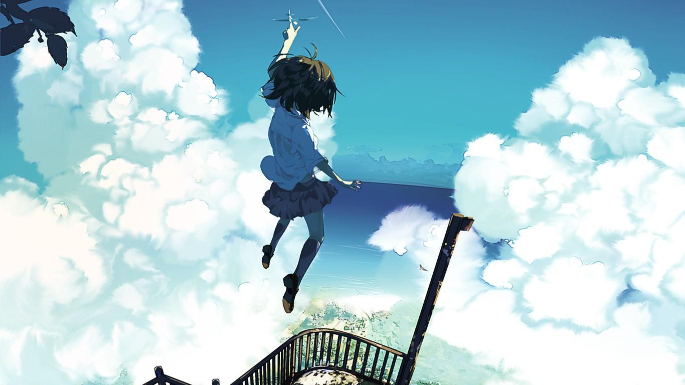 デスクトップ壁紙 日光 アニメの女の子 空 ジャンプする