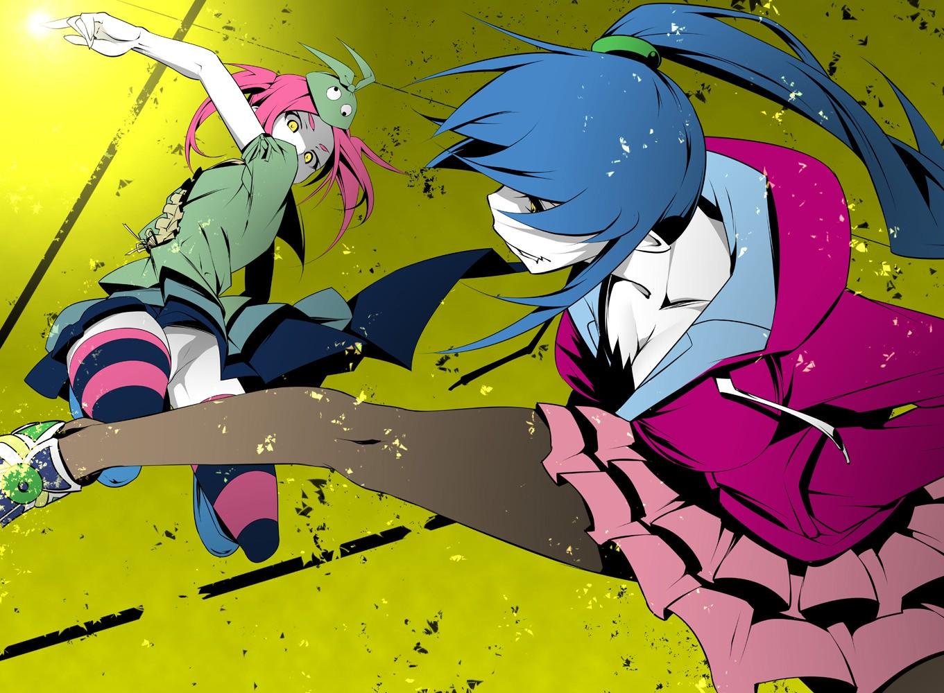 デスクトップ壁紙 カラフル 図 物語シリーズ アニメの女の子