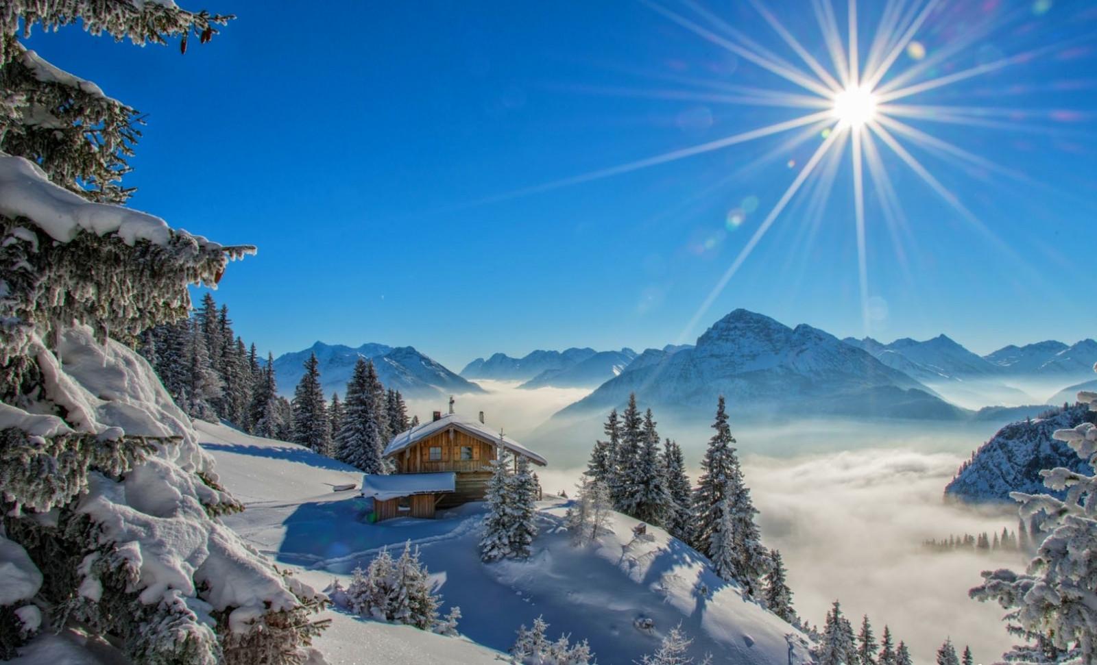 Wallpaper : landscape, forest, mountains, nature, snow, winter, blue, snowy peak, sun rays, Alps ...
