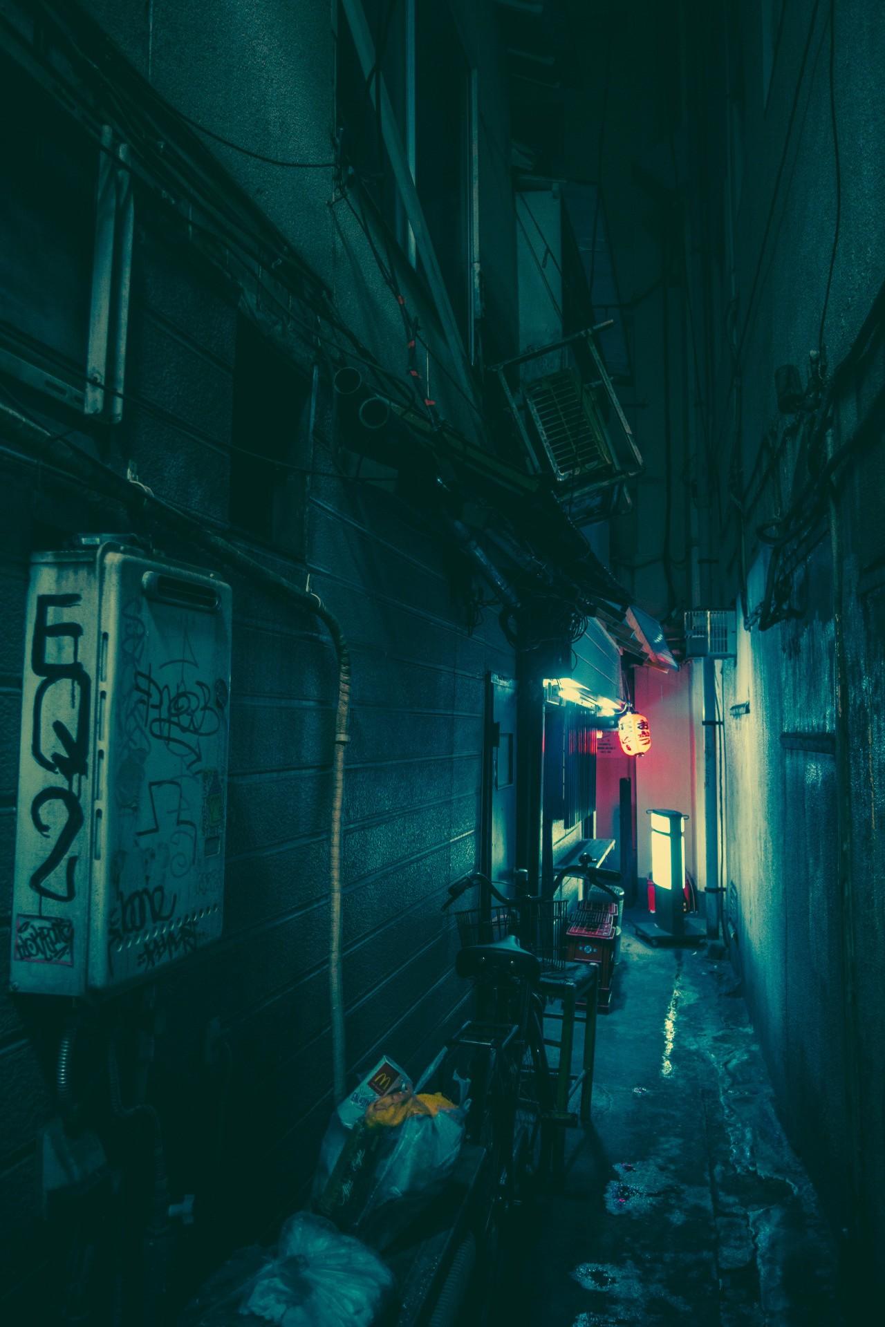 Fond d'écran : Japon, rue, nuit, bleu, Infrastructure, lumière, Couleur, ruelle, obscurité ...