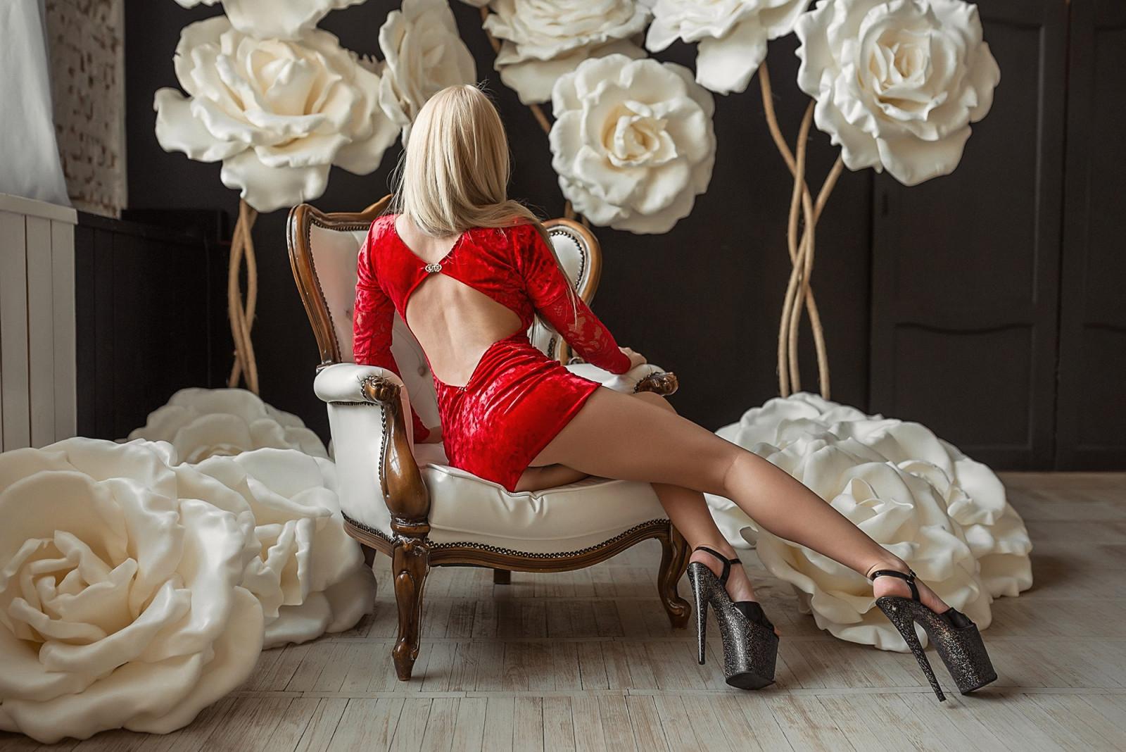 Wallpaper : women, blonde, ass, long hair, high heels, minidress, sitting, upskirt, red dress