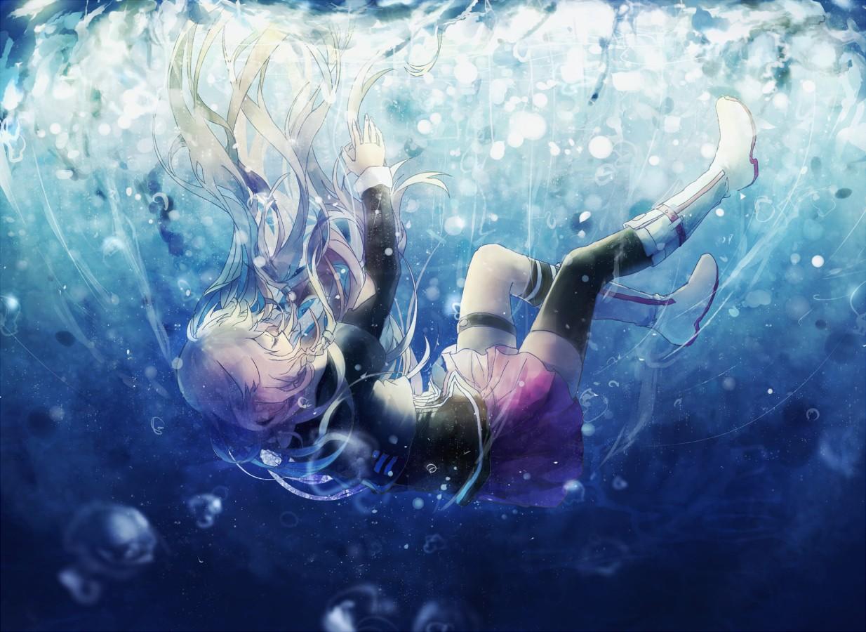Hintergrundbilder : lange Haare, Anime Mädchen, Wasser