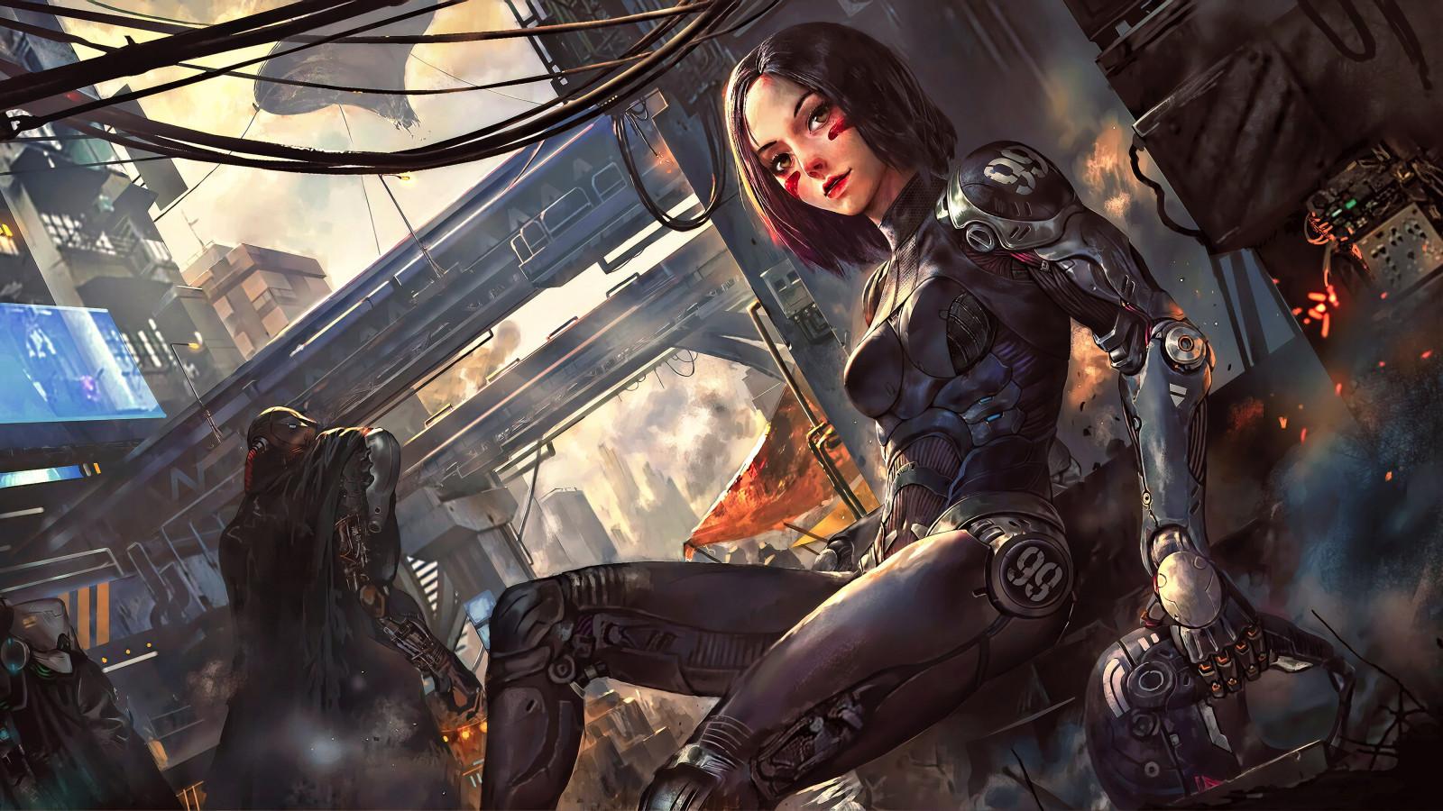 Wallpaper : black hair, cyberpunk, anime girls, futuristic ...