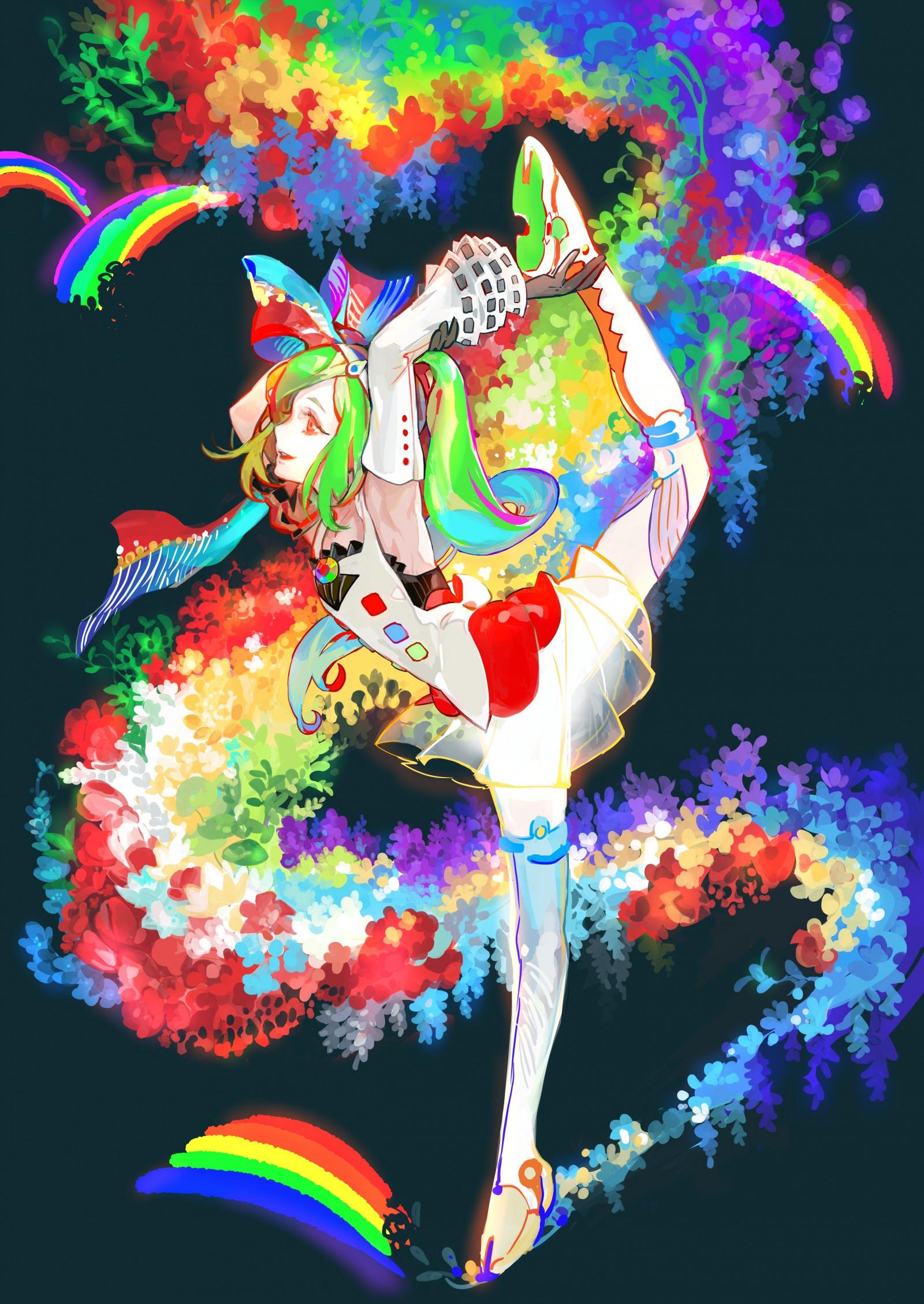 Wallpaper : colorful, illustration, long hair, anime girls ...