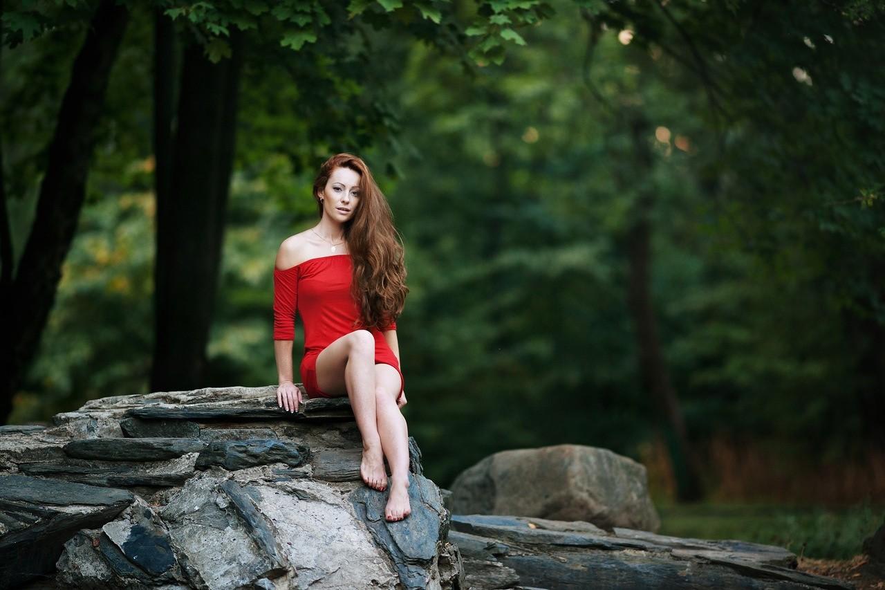 Wallpaper Sunlight Forest Women Outdoors Redhead Model Long Minidress Green Hair Nature Legs Sitting Red Dress Blurred Fashion Spring Tree