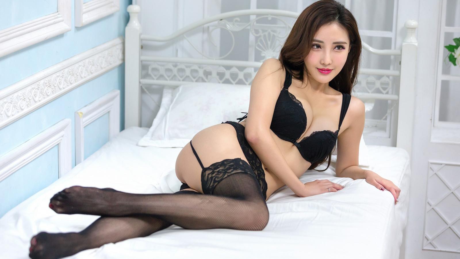 Wallpaper  Bra, Stockings, Brunette, Black Panties, Asian -1000