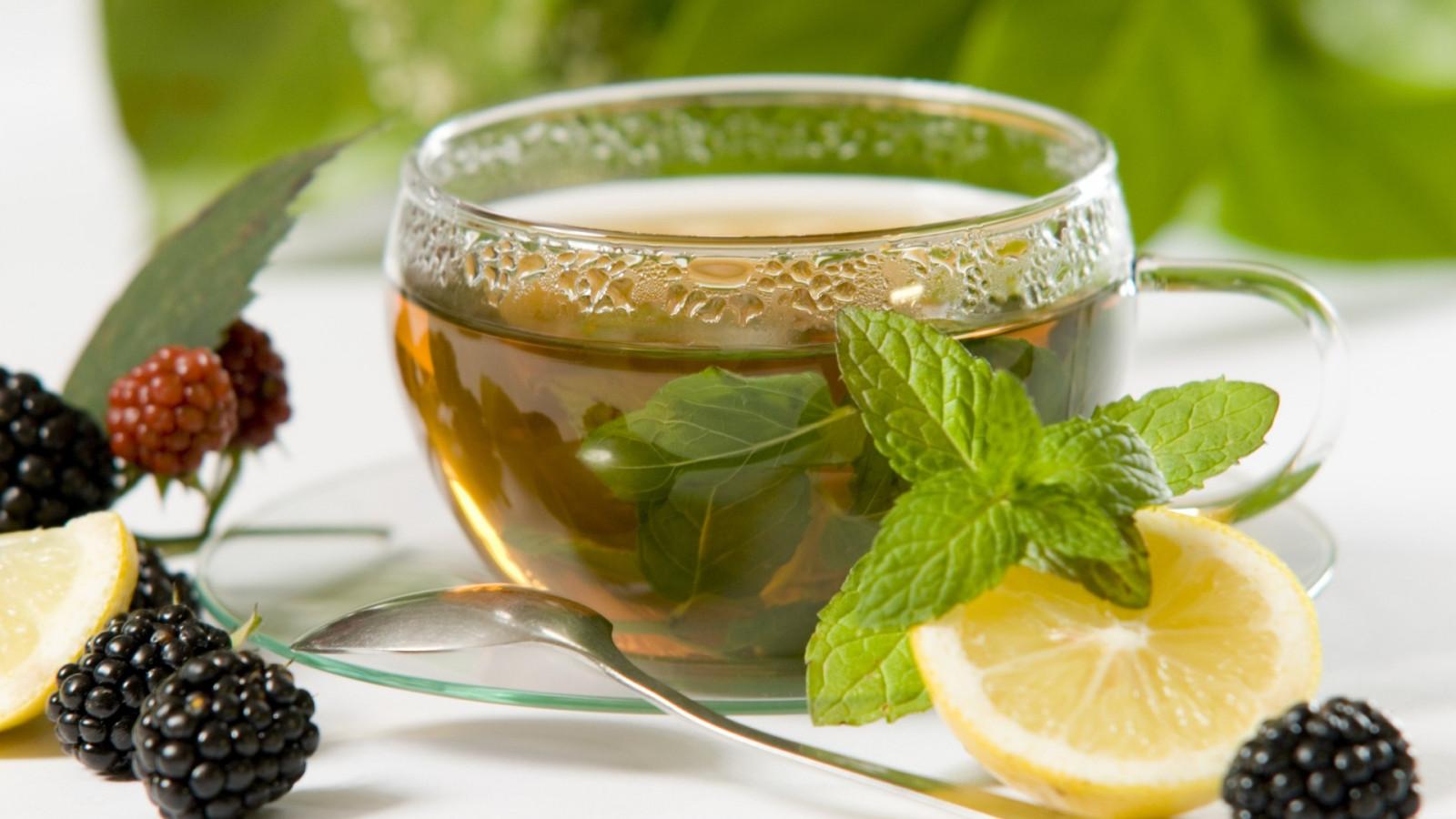 tea, spoon, cup, lemon, blackberry