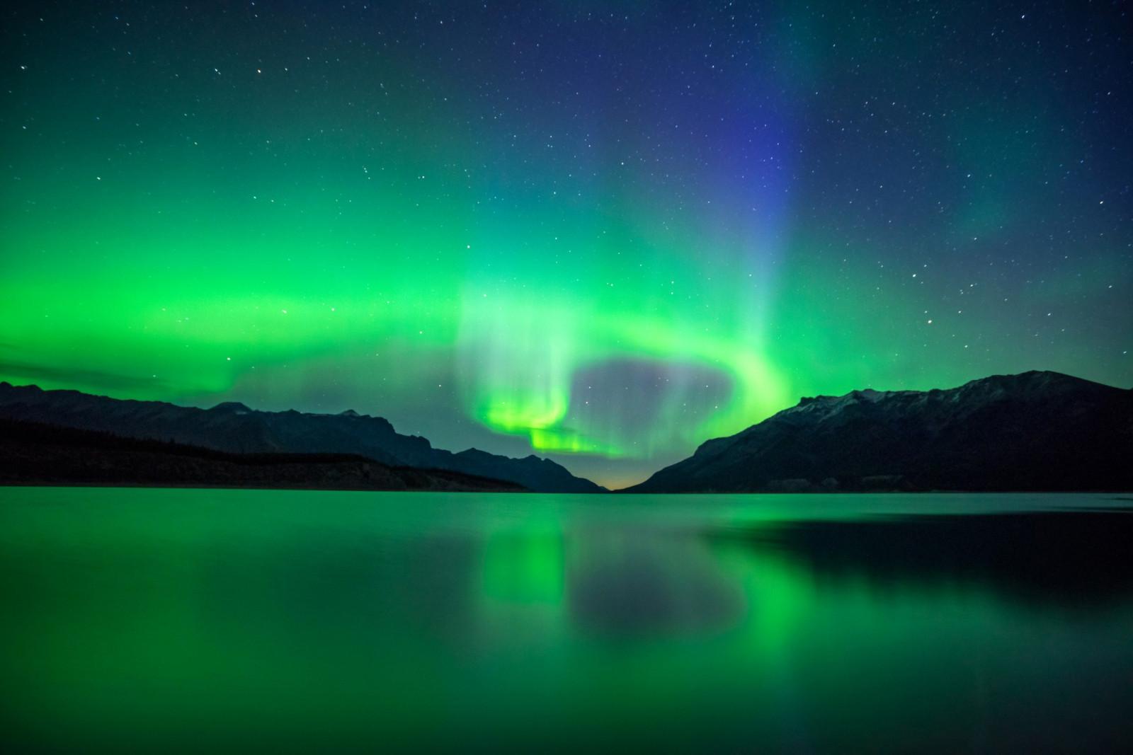 Landscape Mountains Night Lake Reflection Nebula Atmosphere Canada Alberta Aurora Light