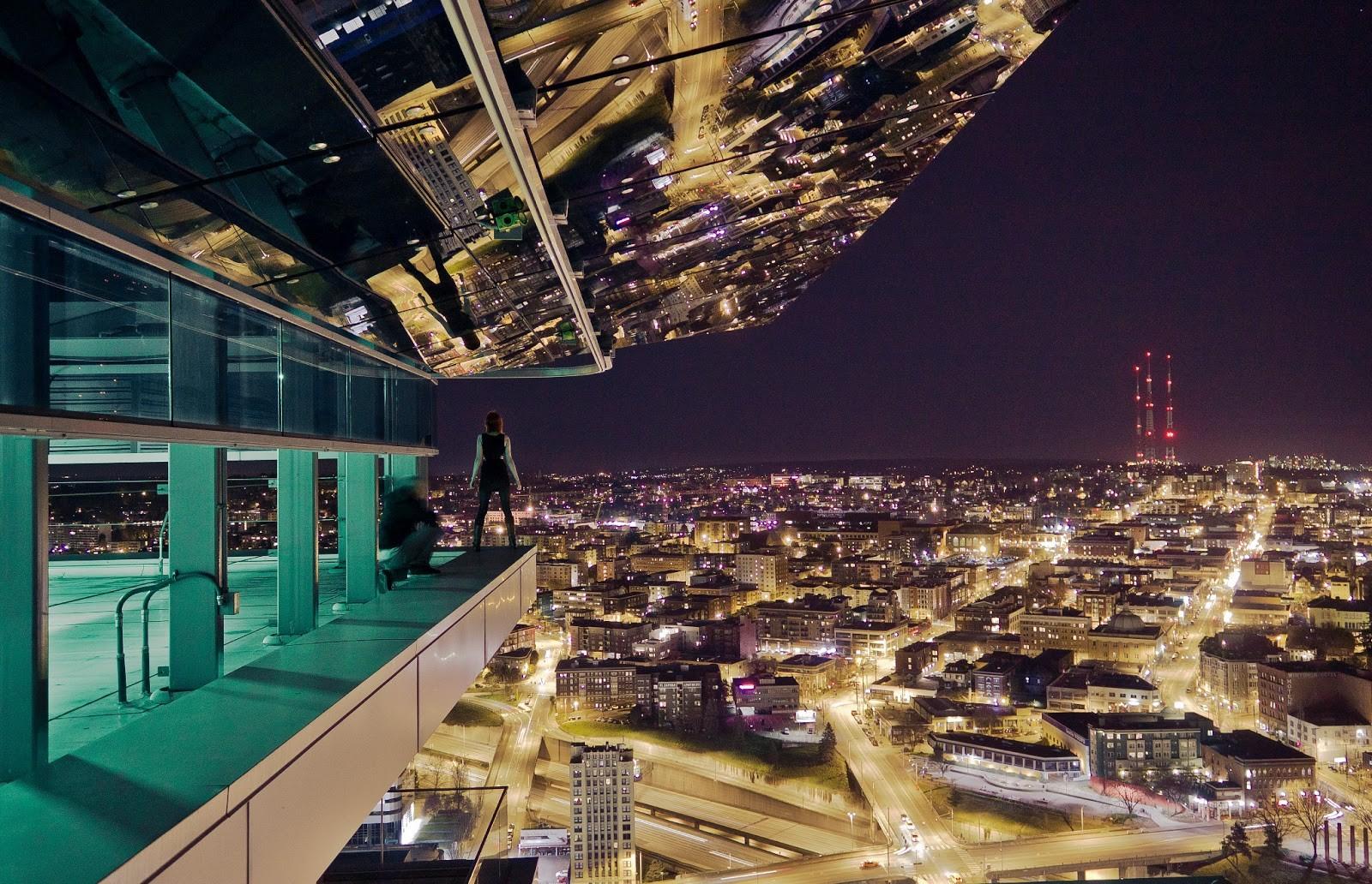 Картинки города ночью на крыше
