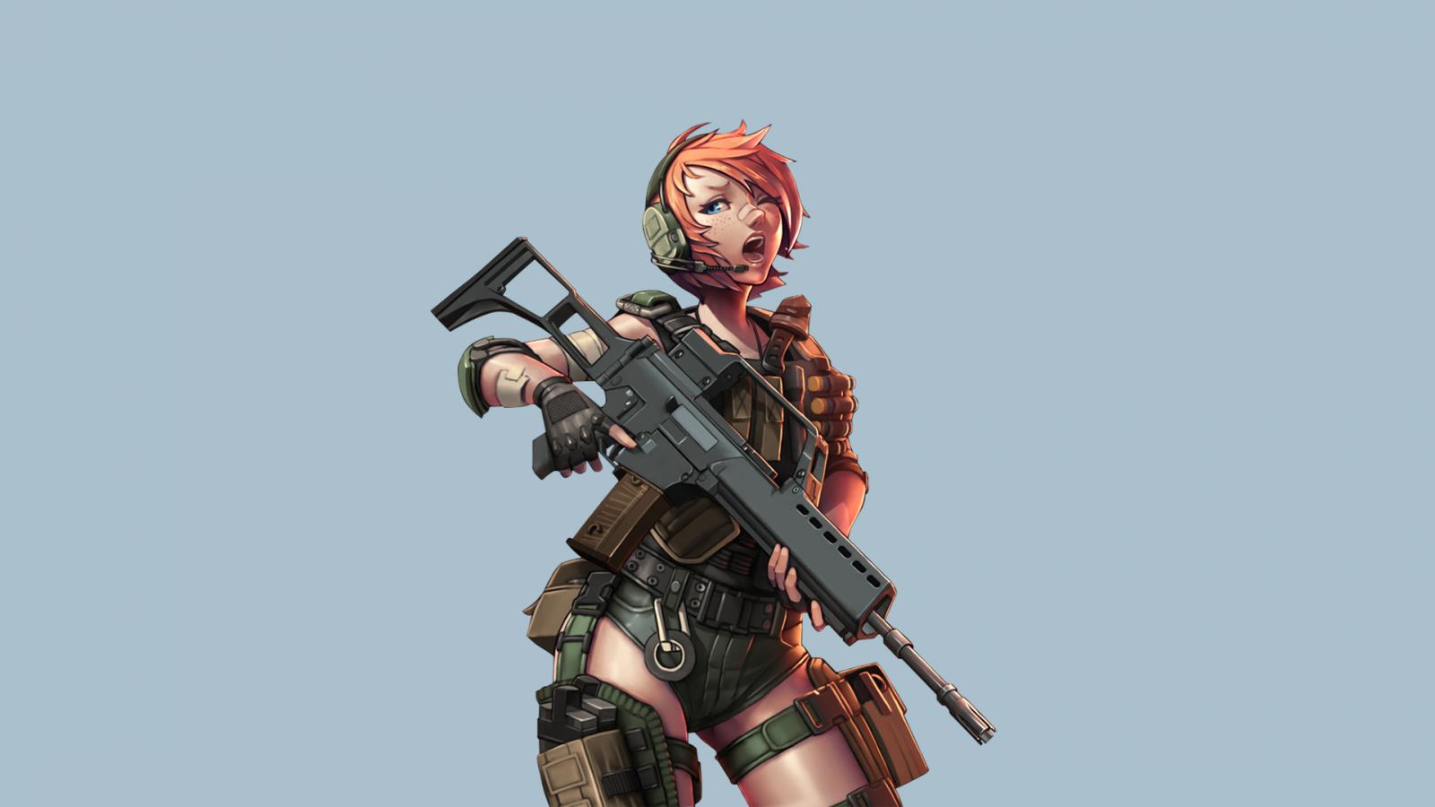 Wallpaper anime girls redhead gun weapon short hair - Anime girl with weapon ...