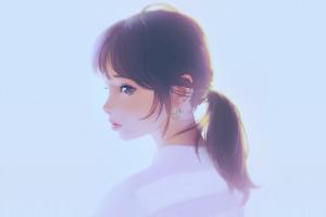 Wallpaper Face White Model Long Hair Anime Girls Blue Eyes