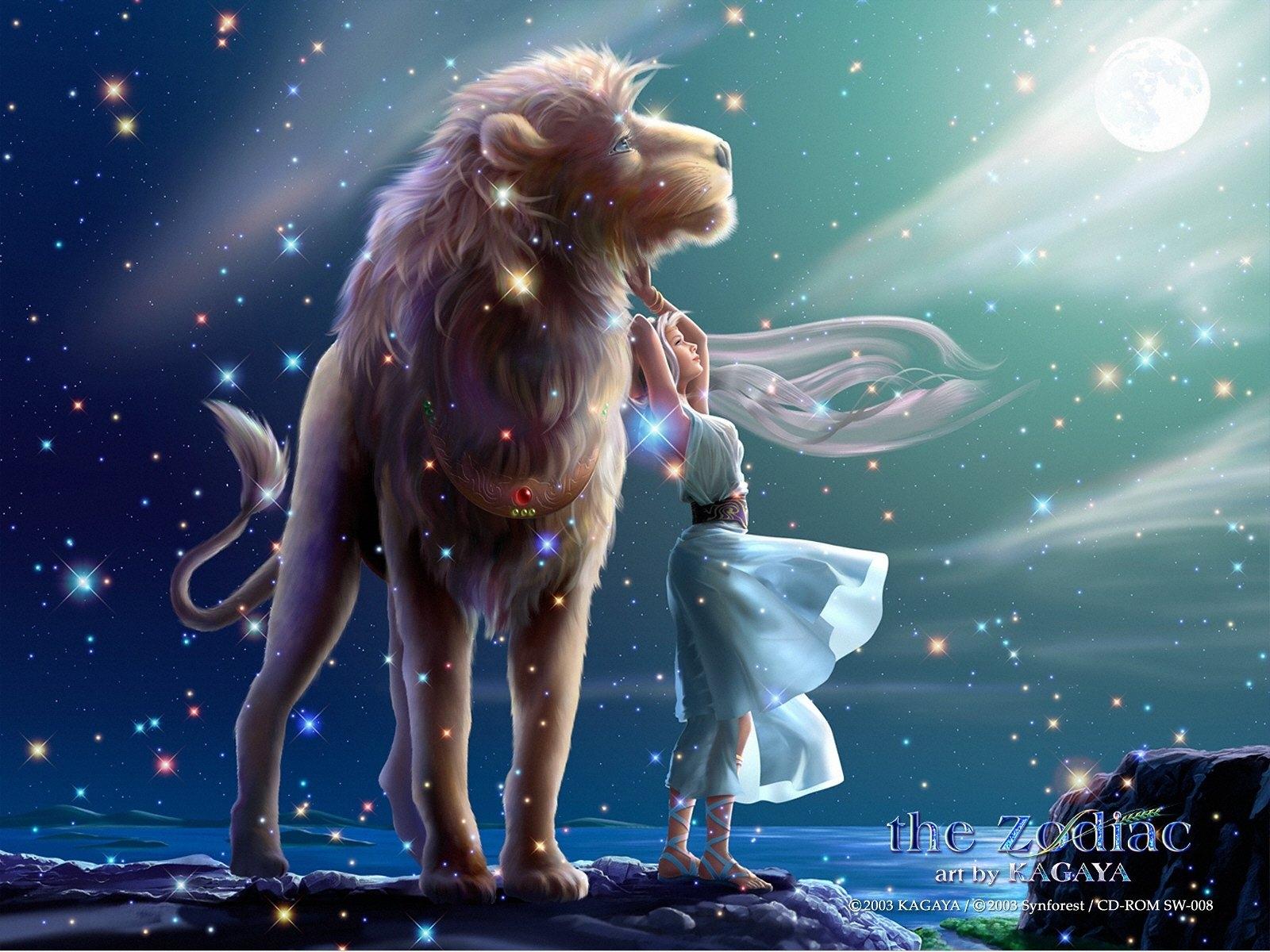 Wallpaper Illustration Anime Space Sky Lion Sign World Mythology Zodiac ART Girl Fun Mammal Screenshot Computer Vertebrate