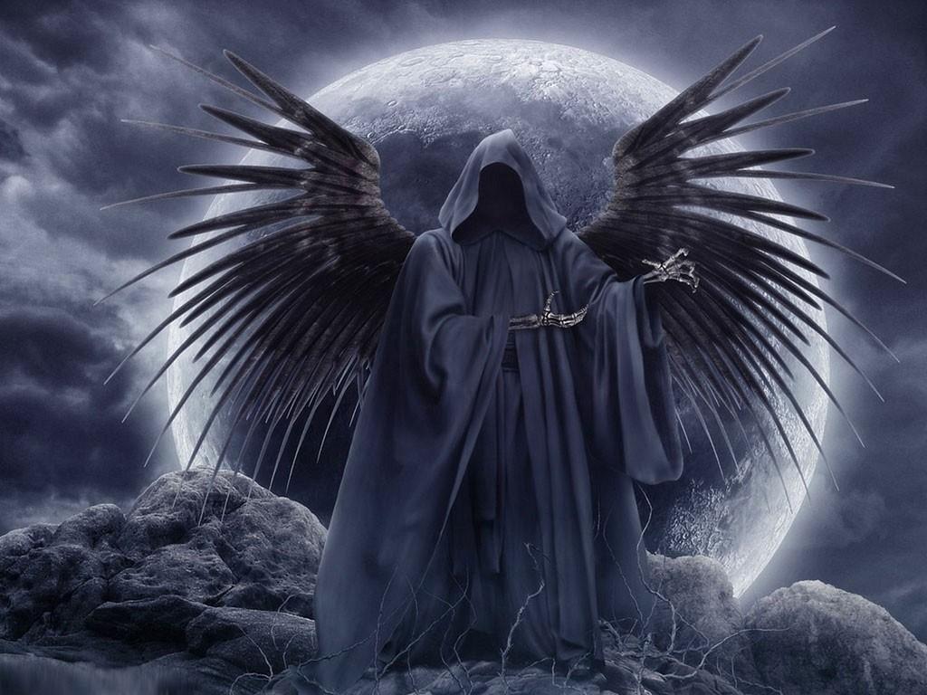 デスクトップ壁紙 モノクロ 天使 死 神話 闇 翼 1024x768