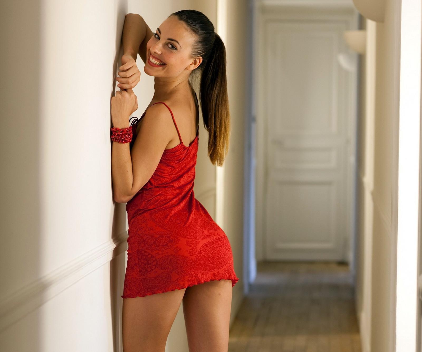 Wallpaper  Women, Model, Brunette, Red Dress, Fashion -4803