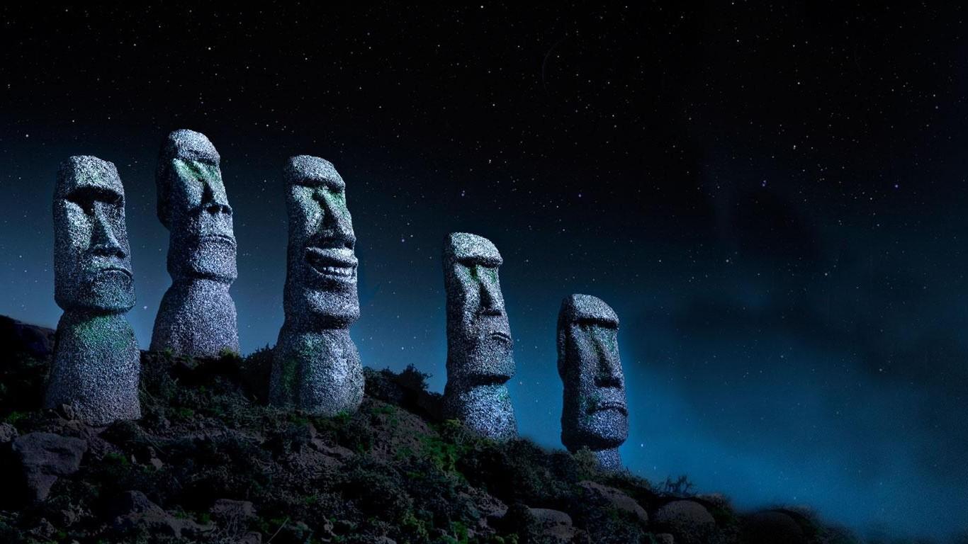 デスクトップ壁紙 夜 空 月光 雰囲気 イースター島 モアイ 闇