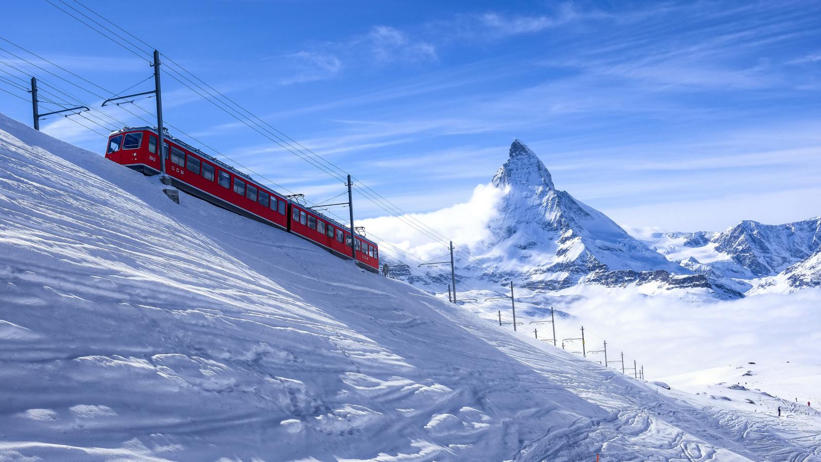 Fondos De Pantalla Zermatt Suiza Alpes Nieve Tren