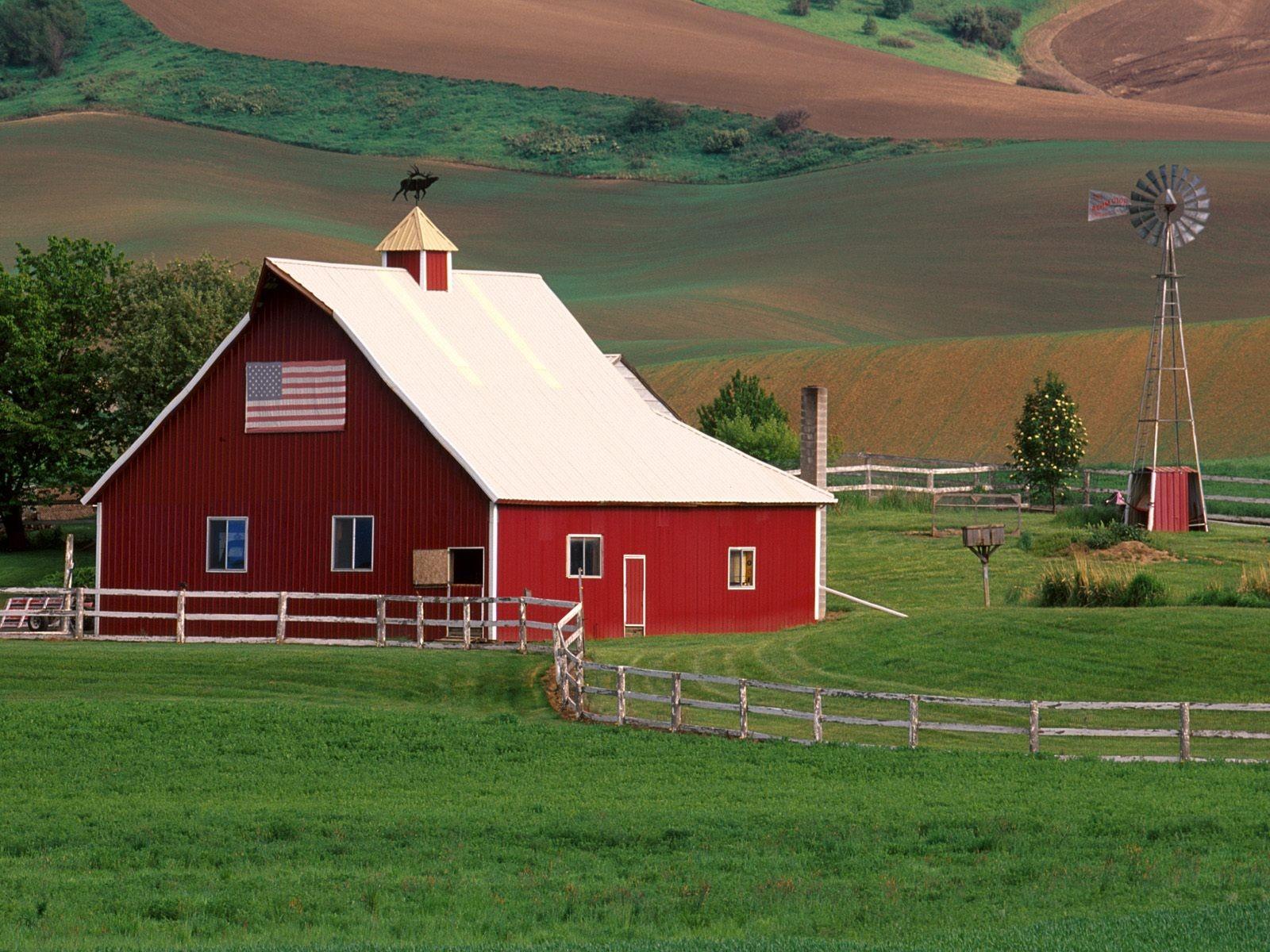 Fond d 39 cran paysage colline champ maison drapeau for Extension maison zone rurale