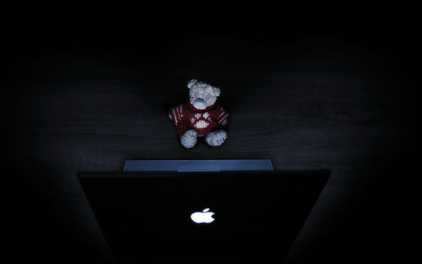 デスクトップ壁紙 黒 夜 スペース 赤 コンピューター 光 林檎 闇 マック コンピュータの壁紙 マクロ撮影 静物写真 テディベア 2560x1600 Coolwallpapers デスクトップ壁紙 Wallhere