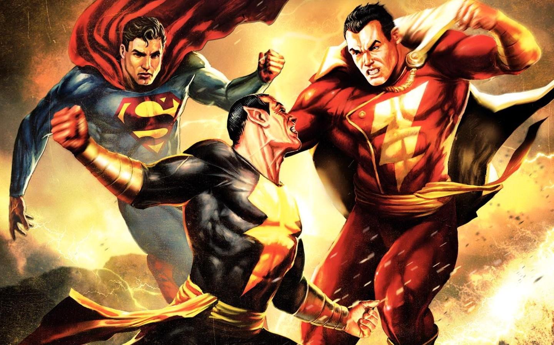 Artwork Superhero DC Comics Superman Shazam Captain Marvel Black Adam Fictional Character Comic Book Fiction