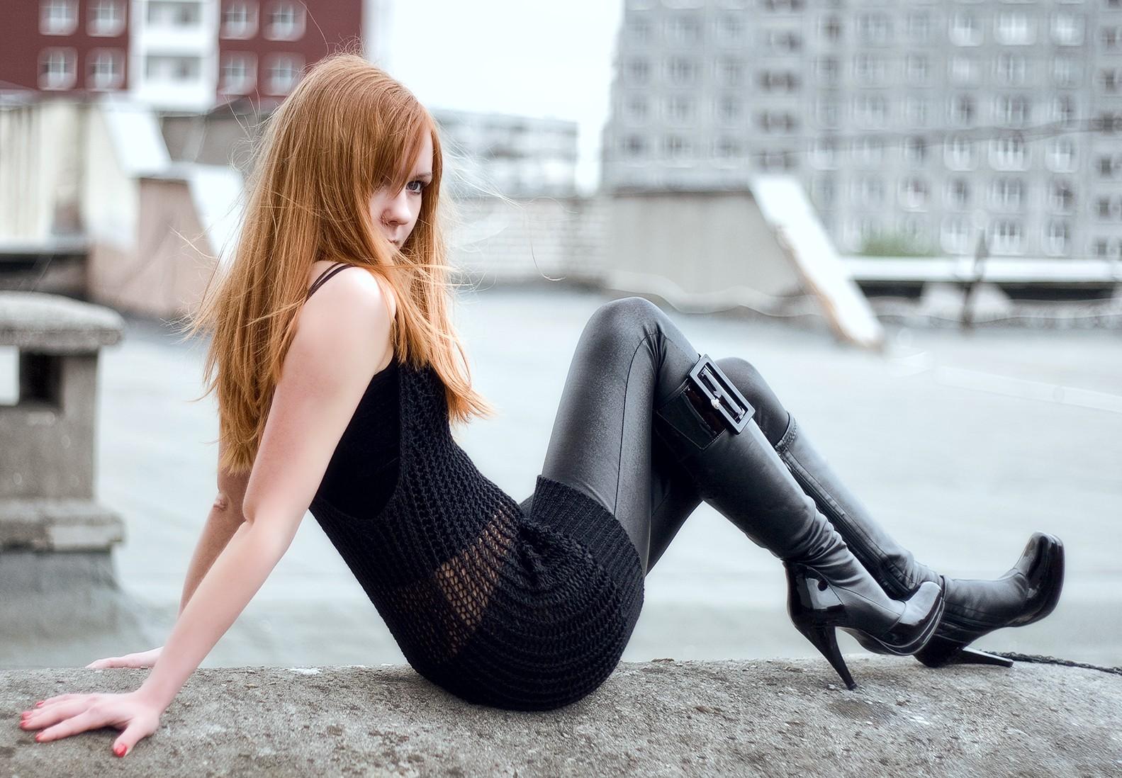 Wallpaper  Women Outdoors, Redhead, Street, Long Hair, Urban, Black Clothing, Sitting -2985