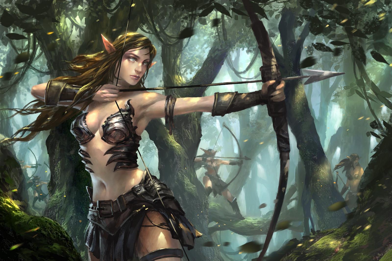 Archer Warrior Elves Fantasy Art Wallpapers Hd: Wallpaper : Fantasy Art, Anime, Archer, Jungle, Comics