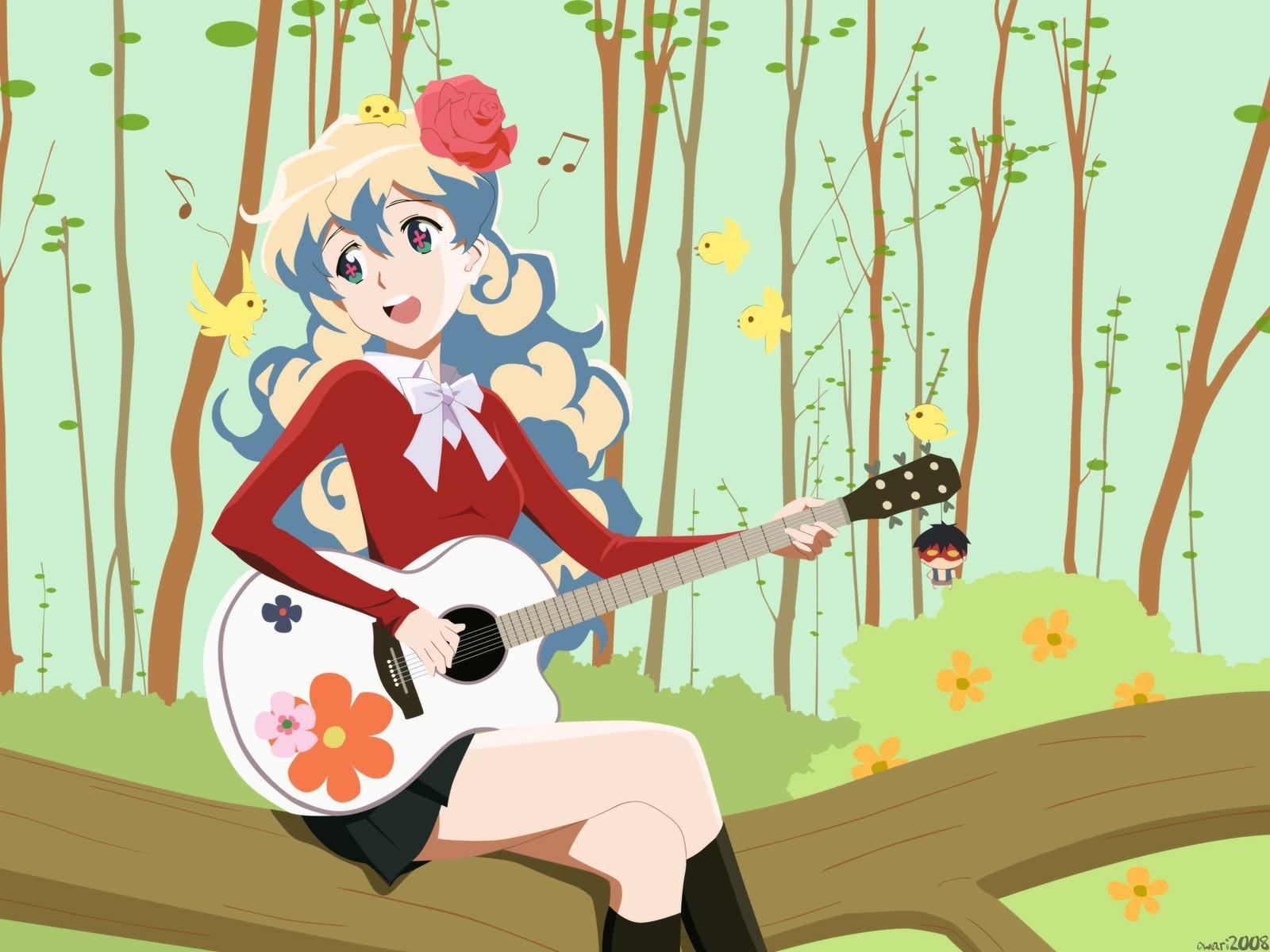 Masaüstü Orman Illüstrasyon Kuşlar Anime Gitar Karikatür