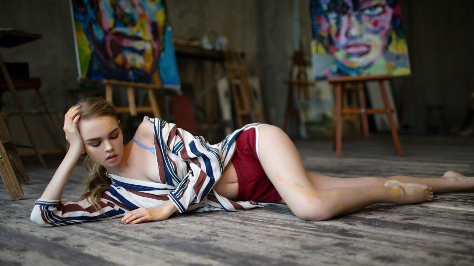 women, model, legs, sitting, Anastasia Scheglova, on the floor, fashion, Person, color, child, girl, beauty, human positions, photo shoot, performance art