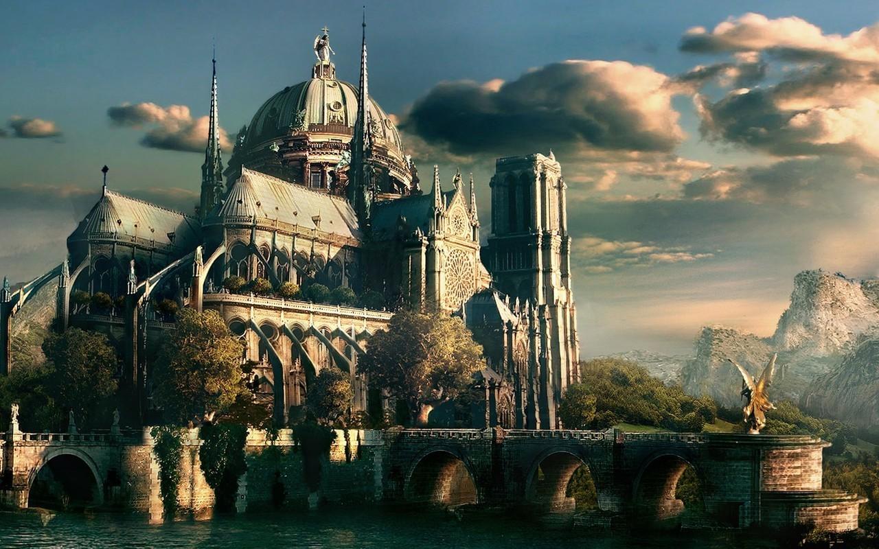 Wallpaper : fantasy art, cityscape, building, reflection
