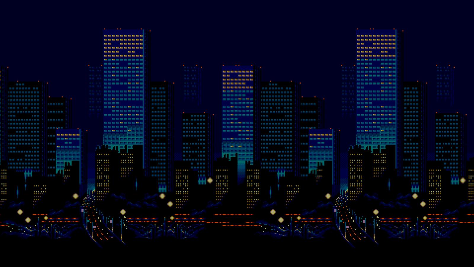 fond d 39 cran paysage urbain nuit pixel art urbain horizon gratte ciel 16 bits horizon. Black Bedroom Furniture Sets. Home Design Ideas