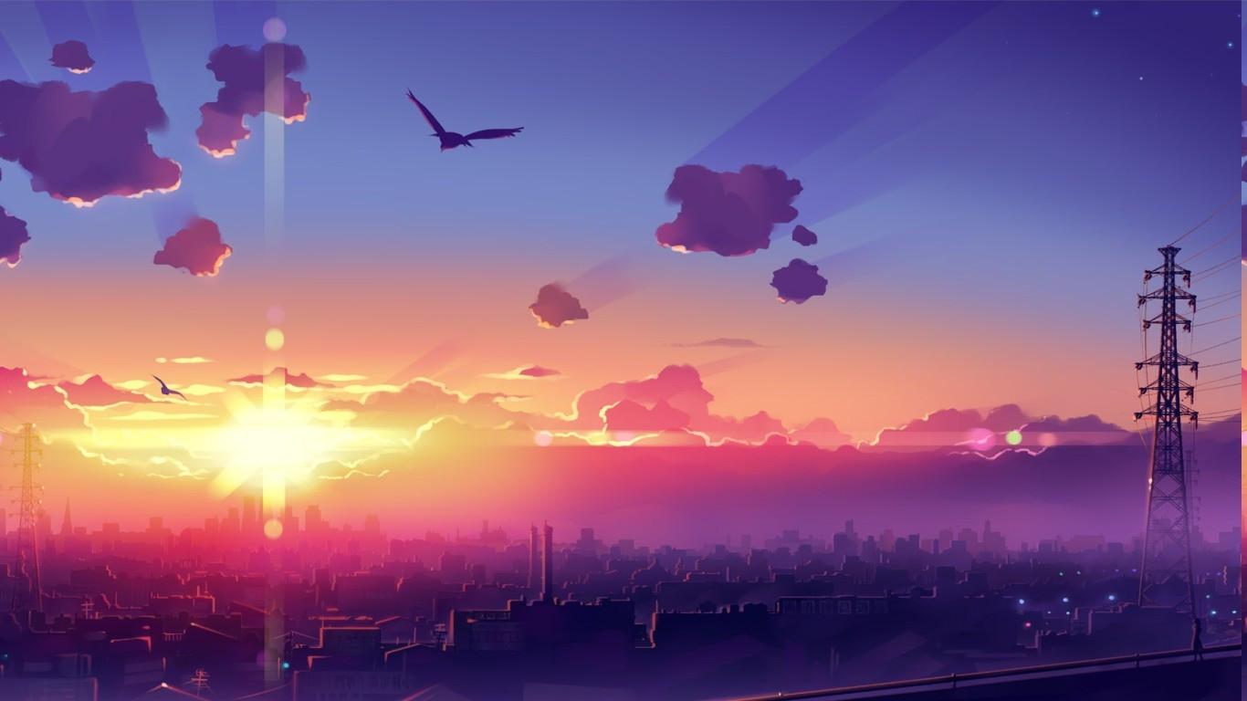 Hình Nền Hoàng Hôn Anime Bầu Trời Màu Tím Bình Minh