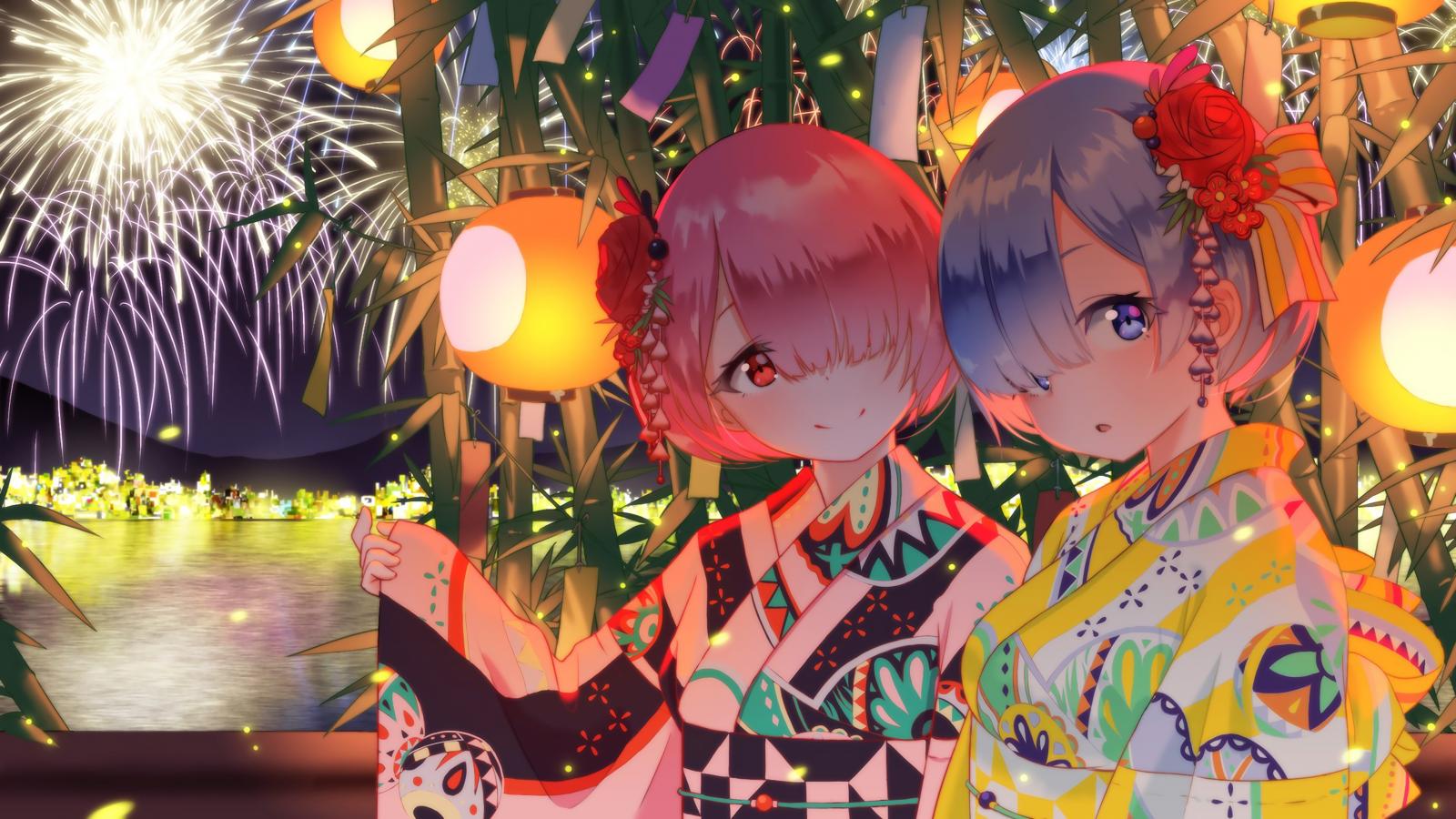 Anime Chicas anime Movimiento rápido del ojo Rem Re Zero Ram re zero fuegos artificiales Yukata Cero Re Zero Kara Hajimeru Isekai Seikatsu cabello rosado pelo azul Arte japonés Gemelos arte de fan