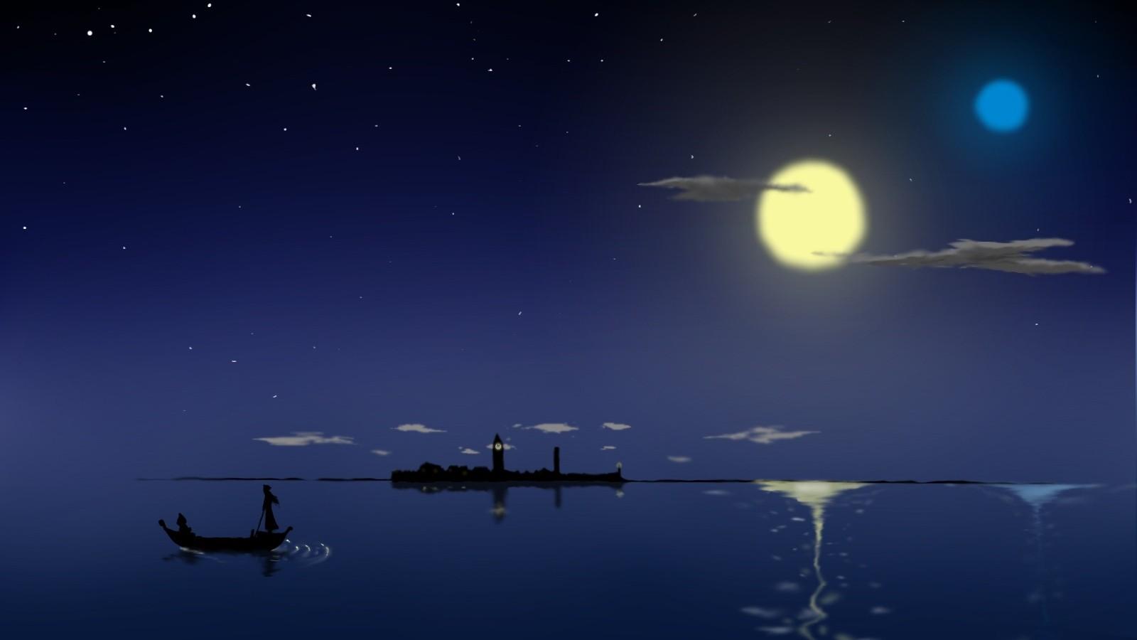 デスクトップ壁紙 ボート 海 夜 アニメ スペース 反射 月光