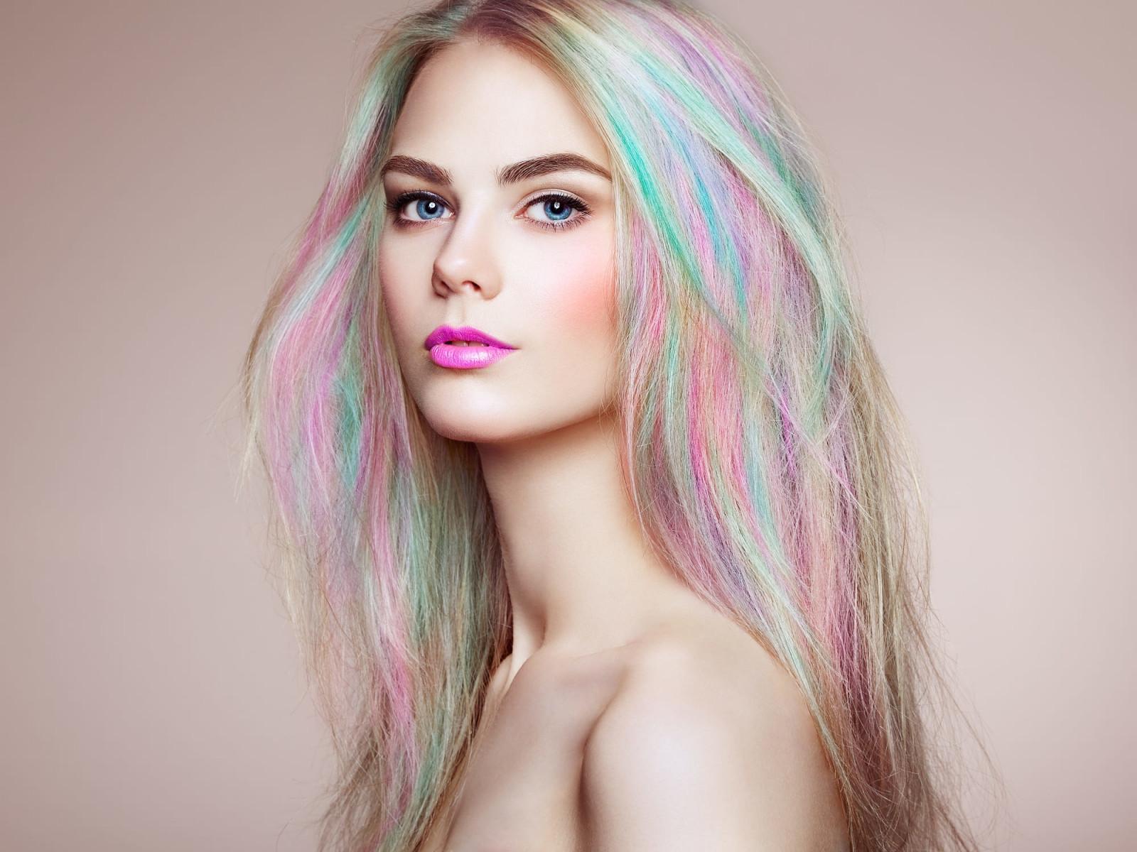 Wallpaper Face Women Simple Background Long Hair: Wallpaper : Portrait, Pink Lipstick, Face, Simple