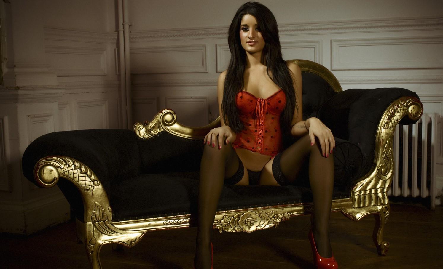 wallpaper : women, sitting, stockings, chair, fashion, clothing