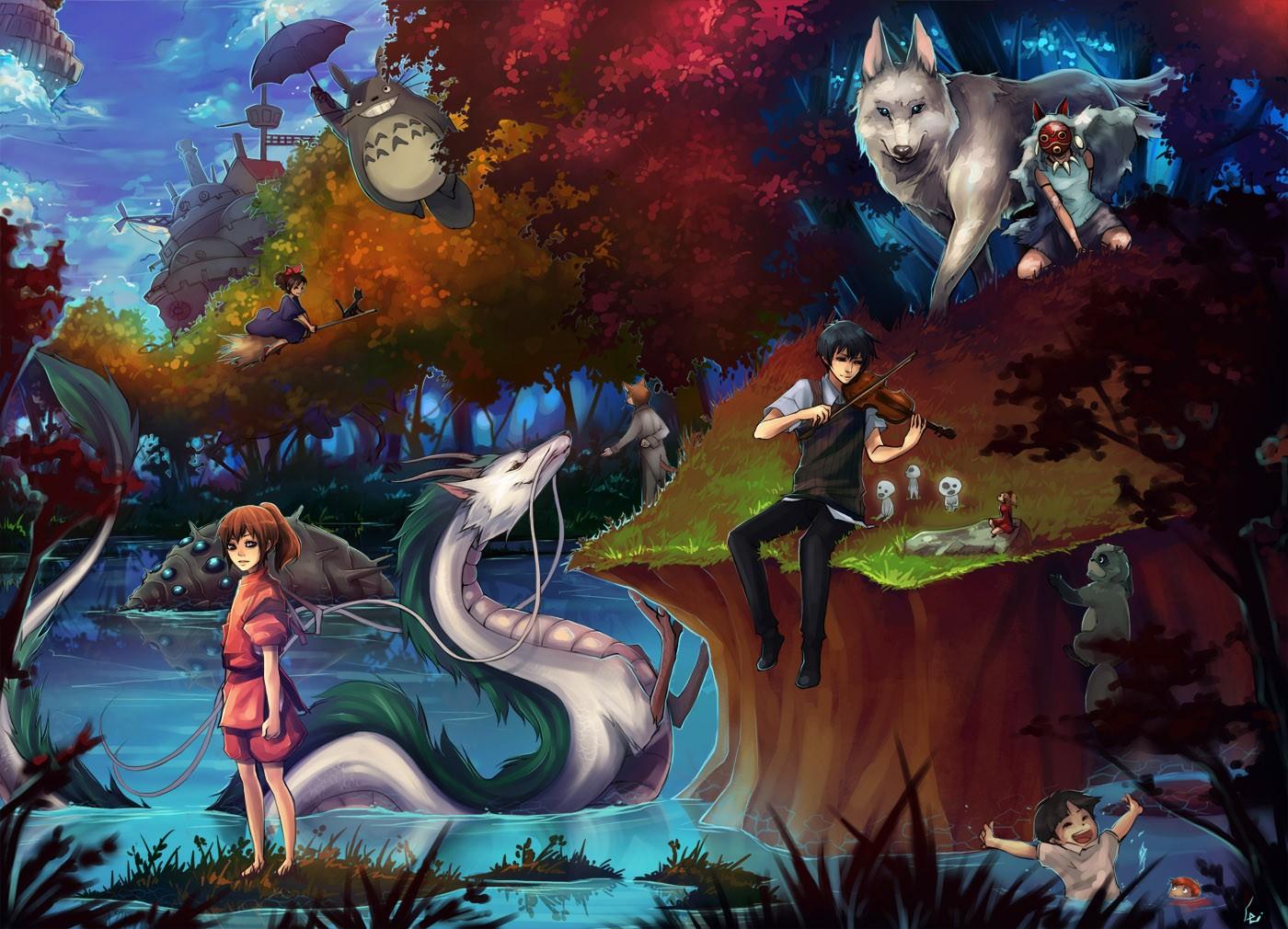Wallpaper Illustration Anime Spirited Away Dragon Princess Mononoke My Neighbor Totoro Studio Ghibli Nausicaa Of The Valley Wind Mythology