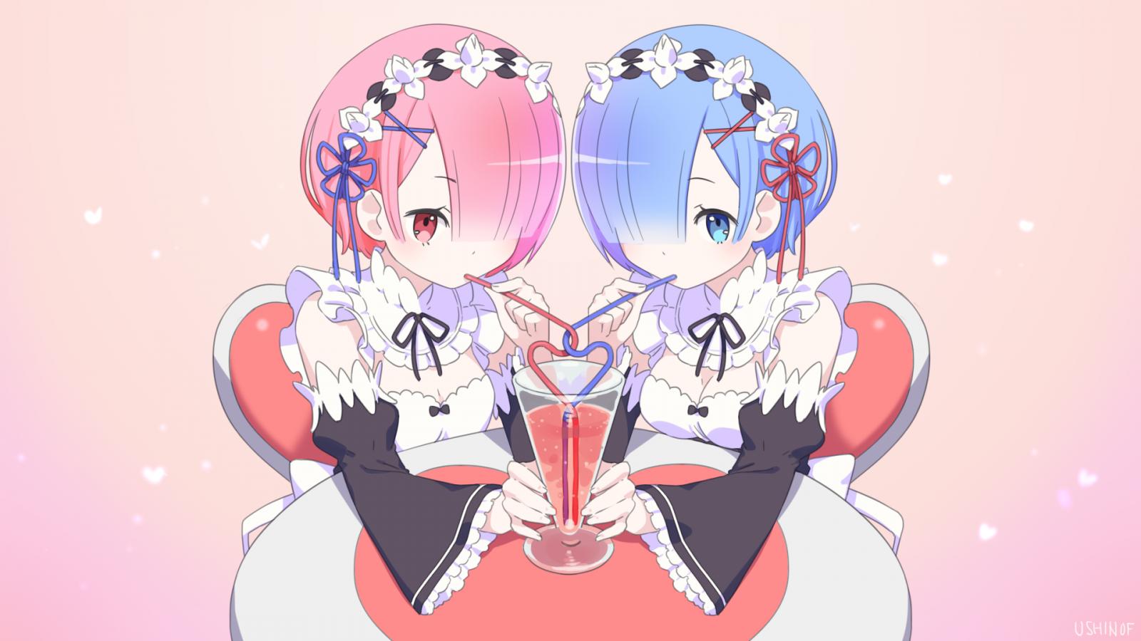 Wallpaper Anime Girls Anime Girls Eating Pink Re Zero
