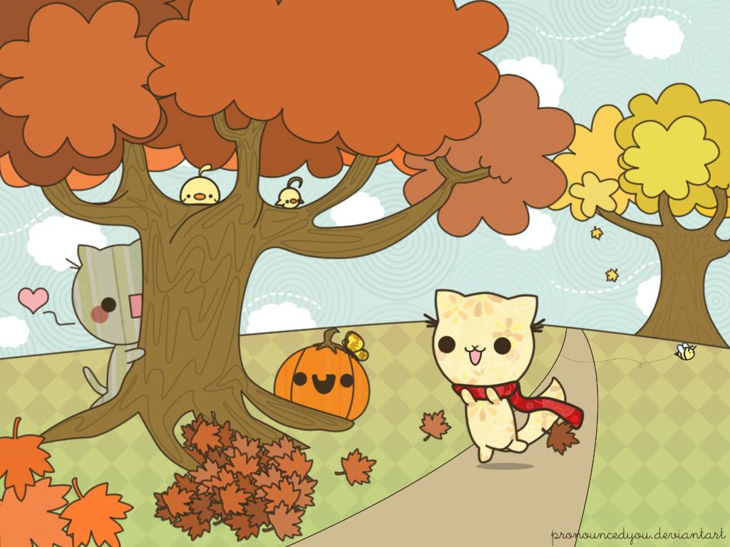 Wallpaper Pohon Jatuh Daun Daun Ilustrasi Kucing Burung