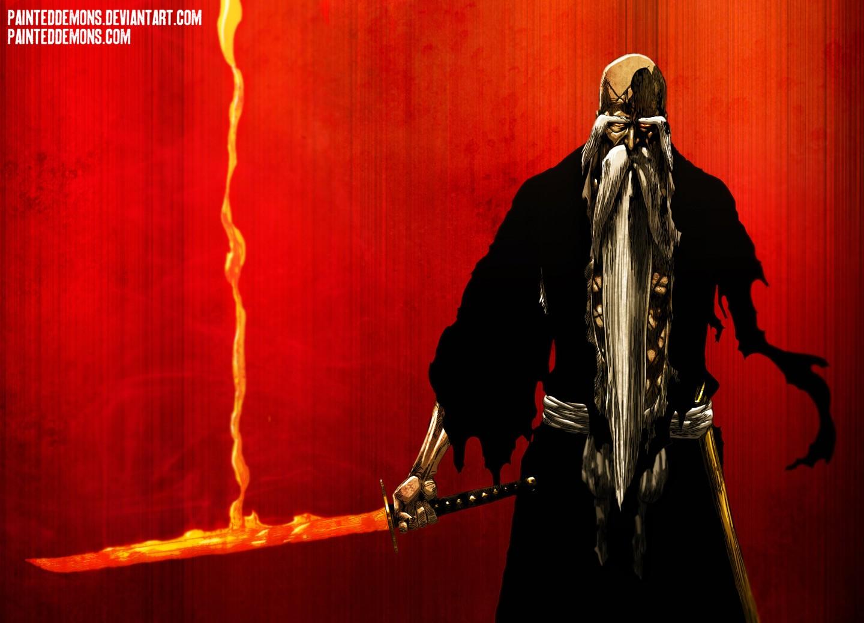 Wallpaper Red Sword Bleach Beards Genry Sai Shigekuni