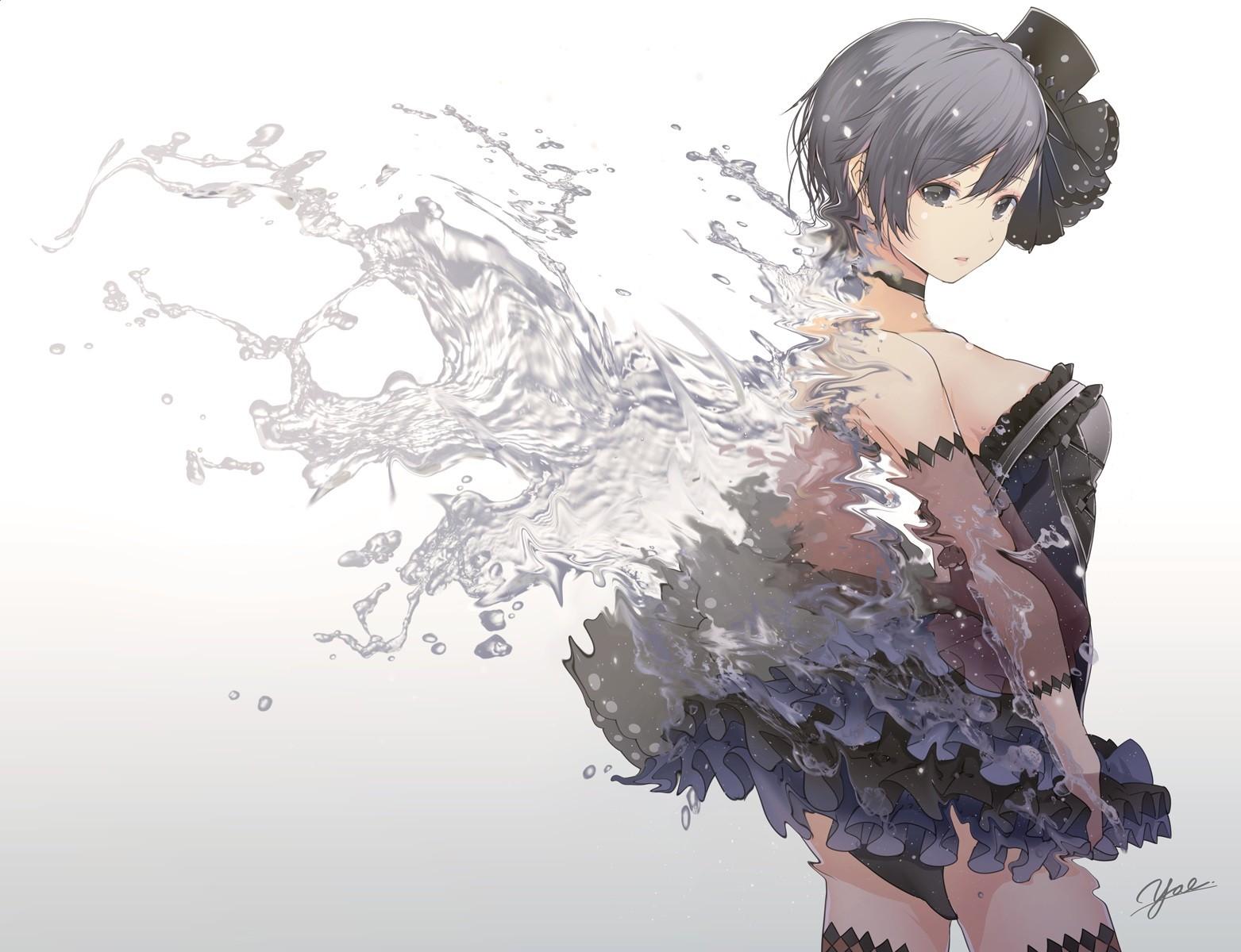 Wallpaper Drawing Illustration Choker Anime Girls Water