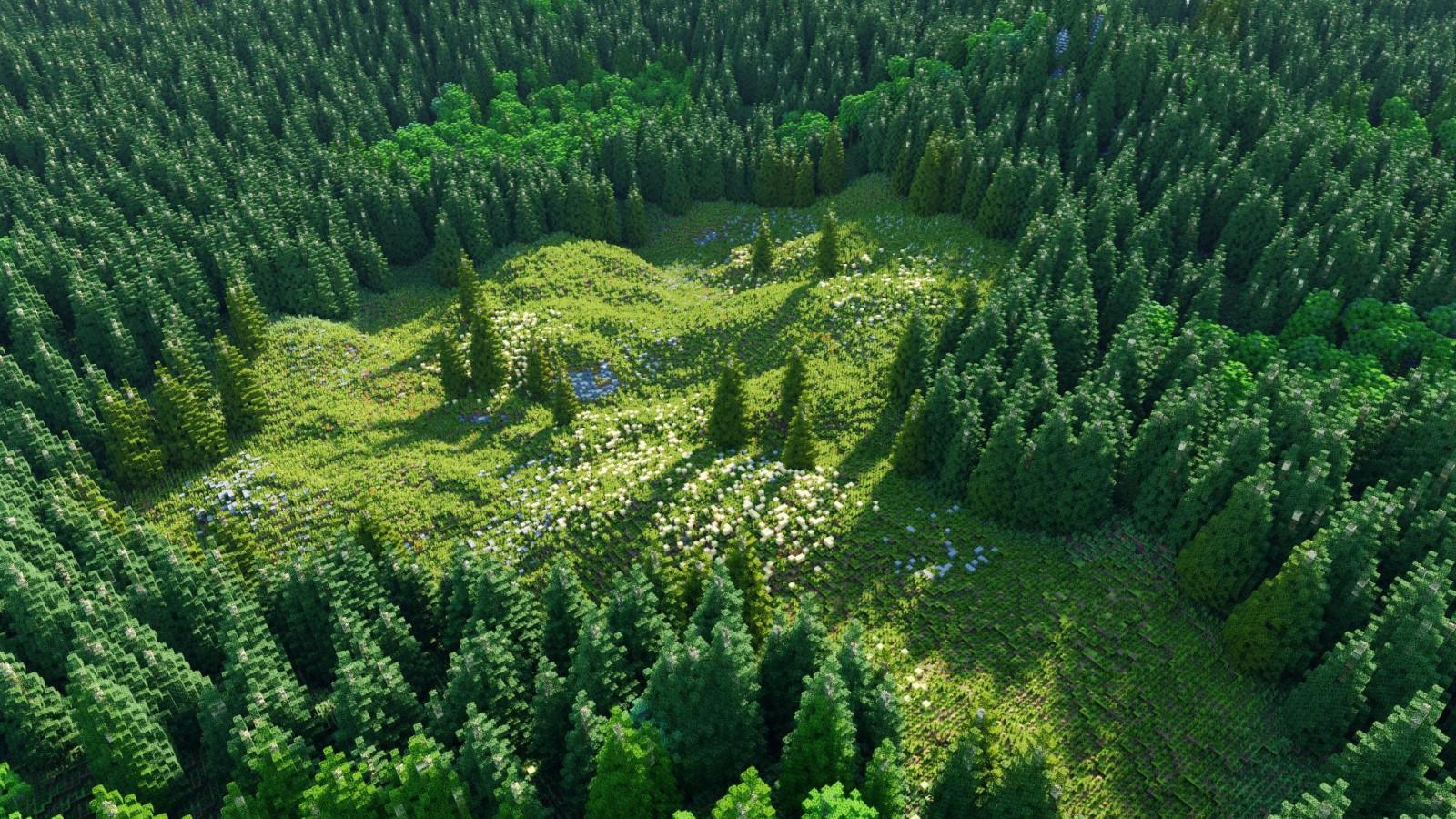 Wallpaper : landscape, grass, field, Minecraft, Chunky ...
