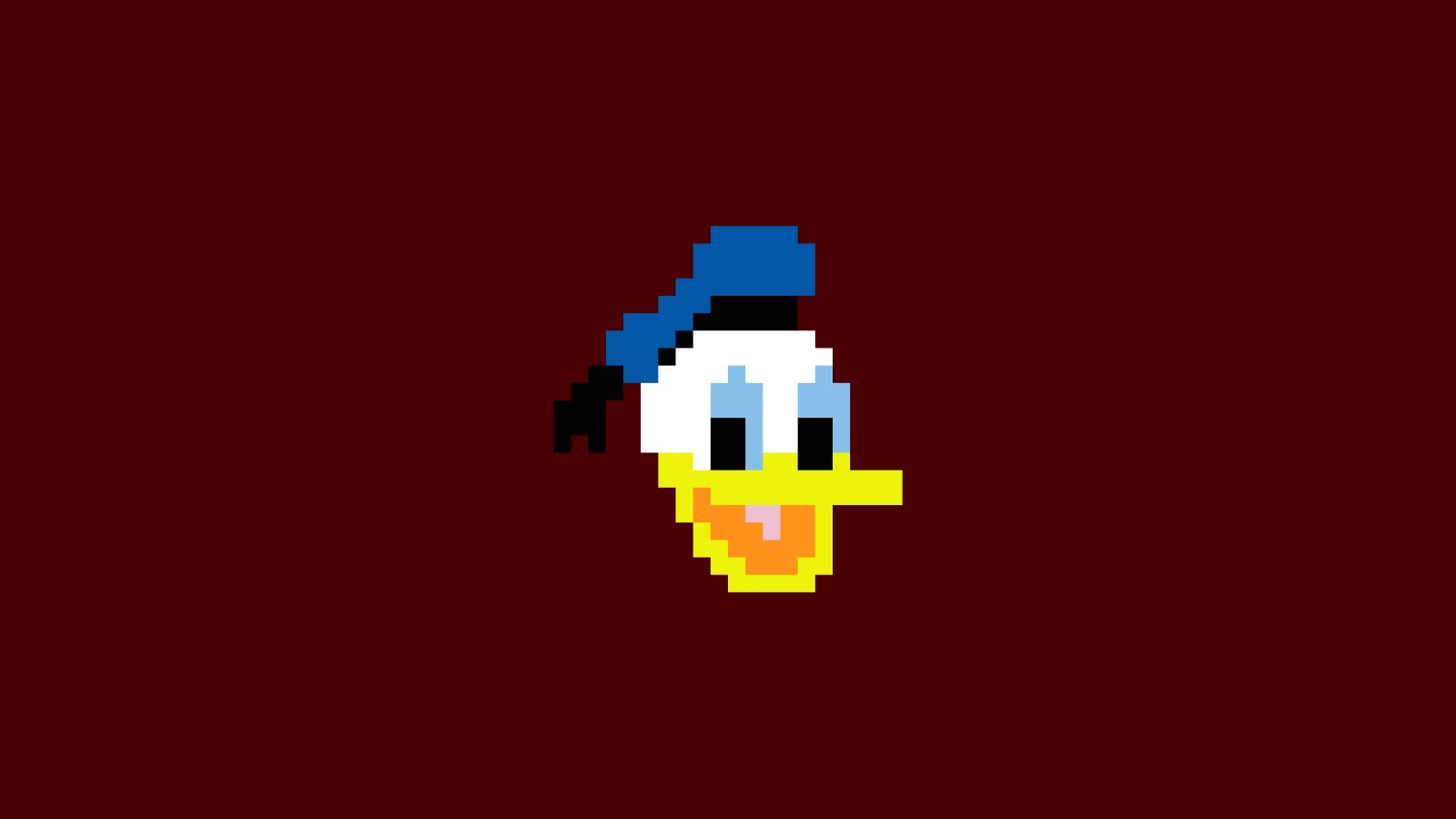 fond d 39 cran illustration donald duck pixel art texte logo pixels marque capture d. Black Bedroom Furniture Sets. Home Design Ideas