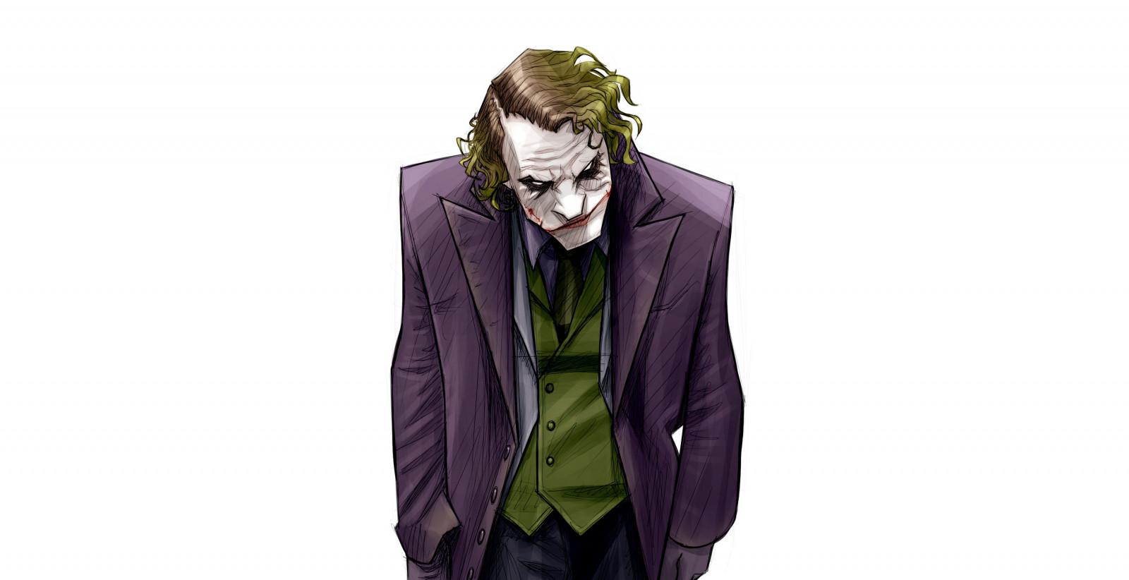 Wallpaper : Joker, artwork, simple background, white ...