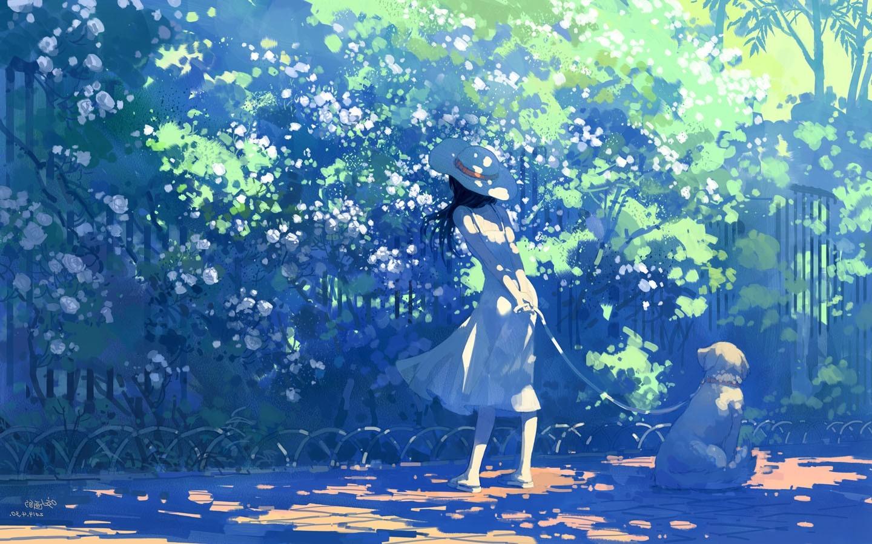 Masaustu Gunes Isigi Boyama Illustrasyon Anime Girls Beyaz