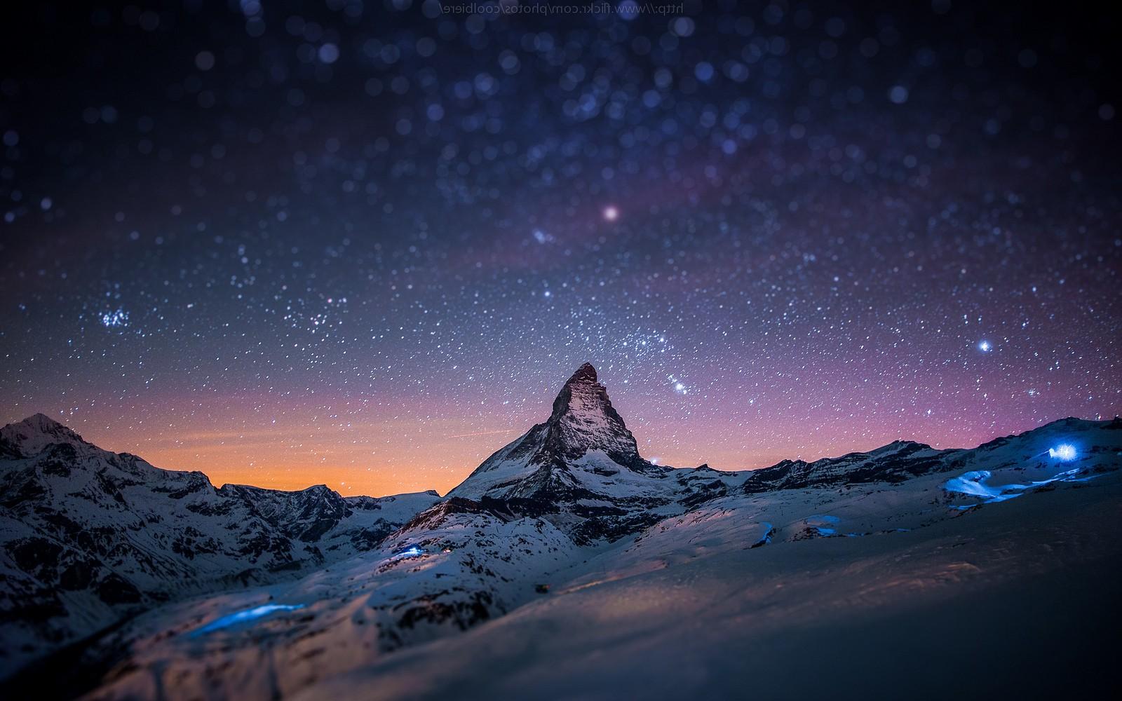Wallpaper Landscape Night Nature Sky Snow Winter